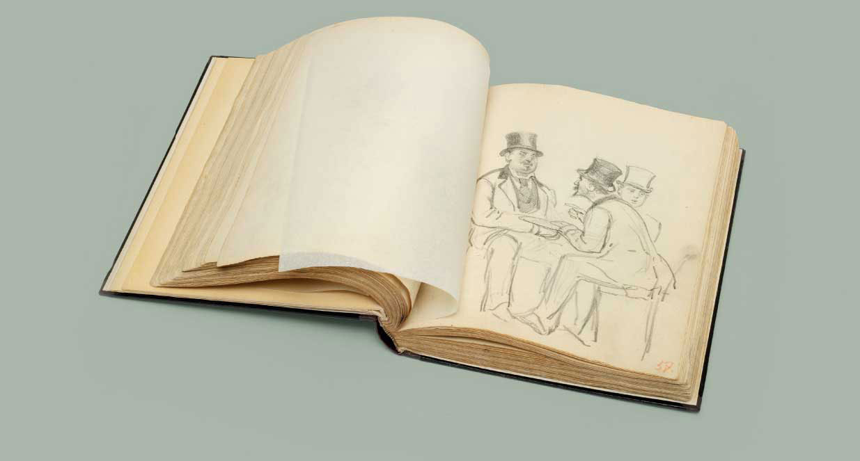 A sketch-book dating from 1872-1875, comprising approximately 120 pencil drawings, seven coloured pencil drawings and two ink drawings including studies for: A Parisian Café, Sadko in the Underwater Kingdom, A Newspaper Seller in Paris and Slavic Composers; drawings of literary subjects; portrait sketches; sketches of French and Russian characters; and a self-portrait dated 1873 bound therein authenticated by Vera Repina, the artist's daughter in 1935-36