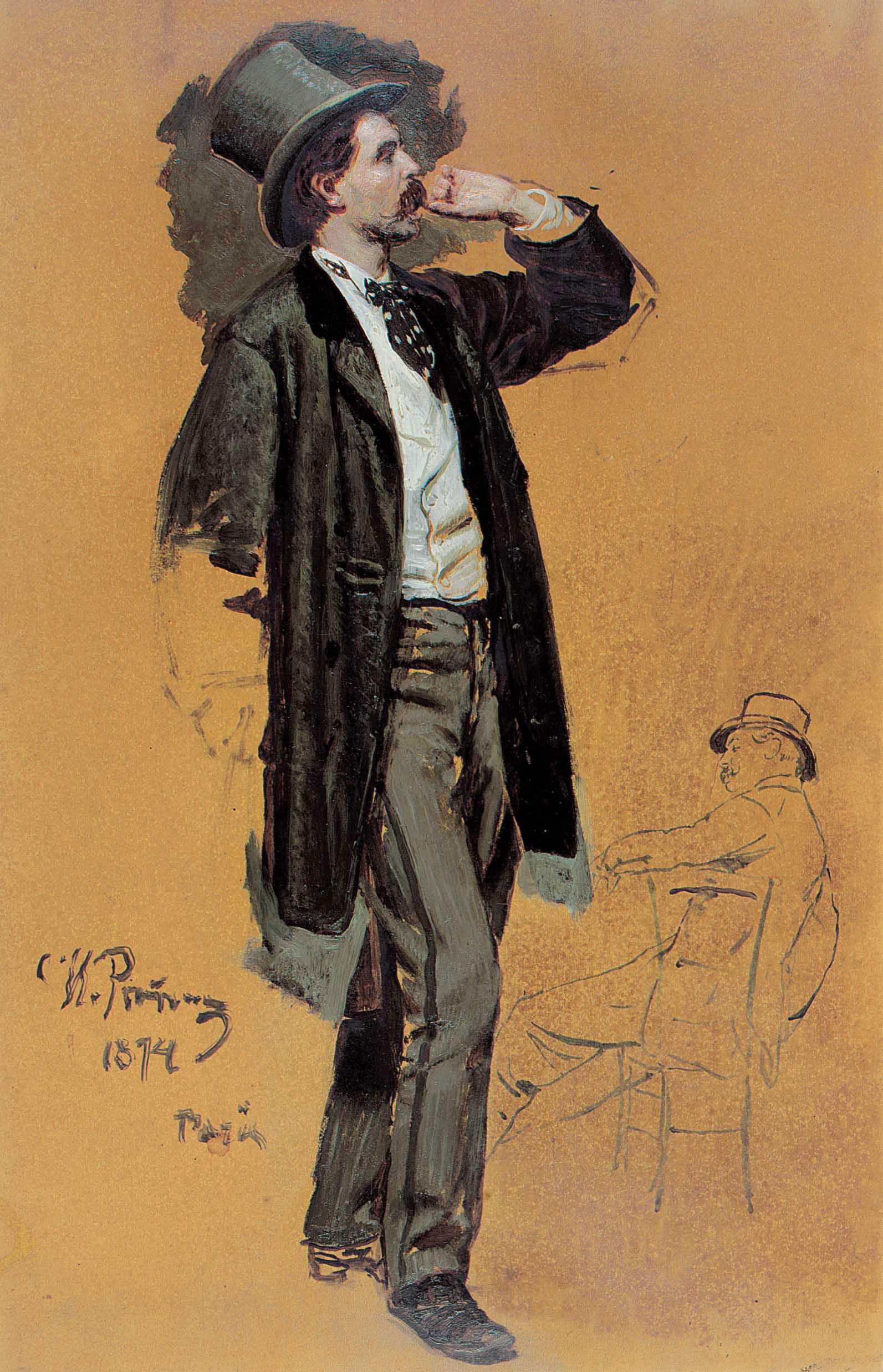 Study for A Parisian Café: Gentleman standing and Jean-Léon Gérôme (1824-1904)