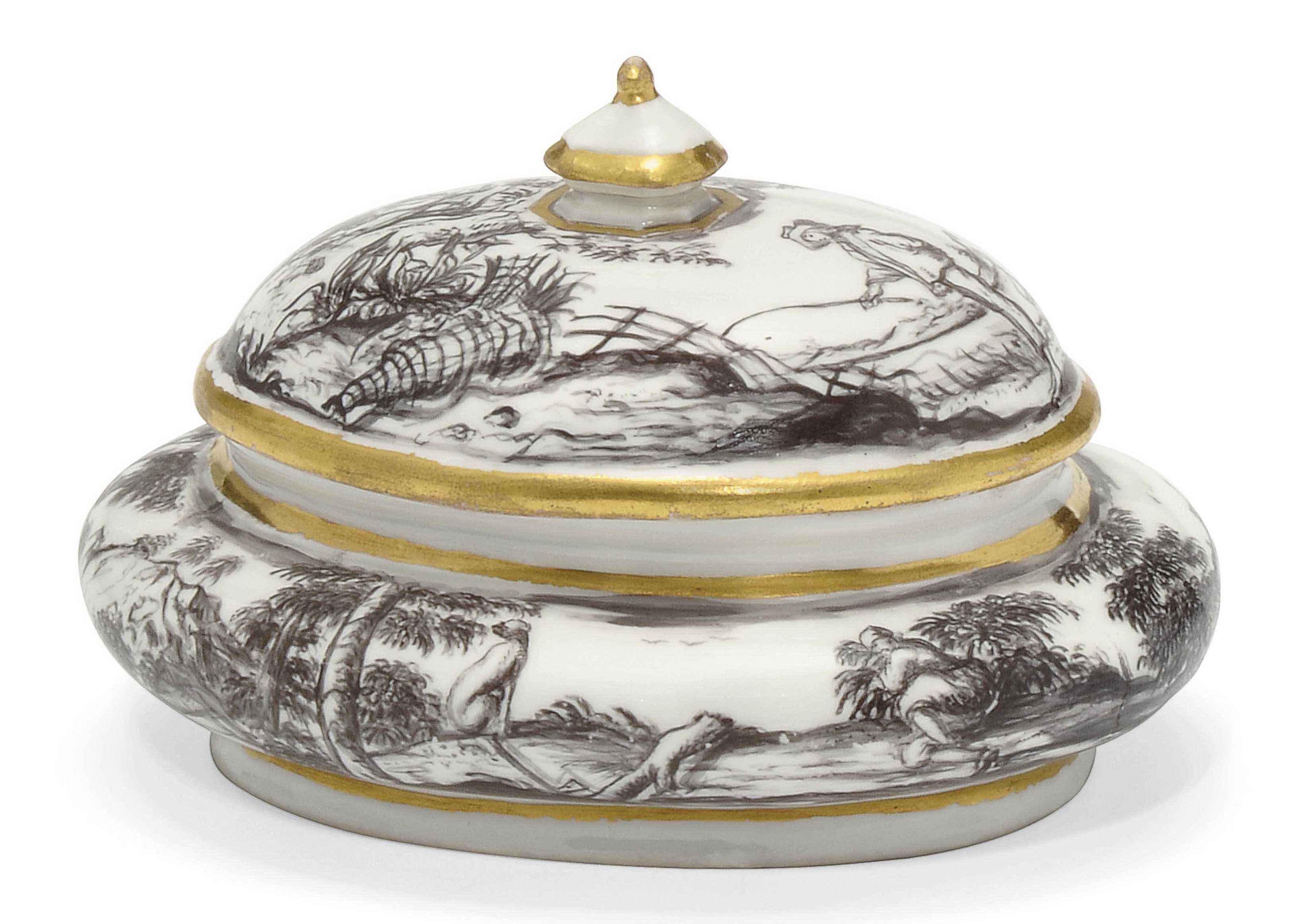 A VIENNA (DU PAQUIER) OVAL SUGAR-BOX AND COVER