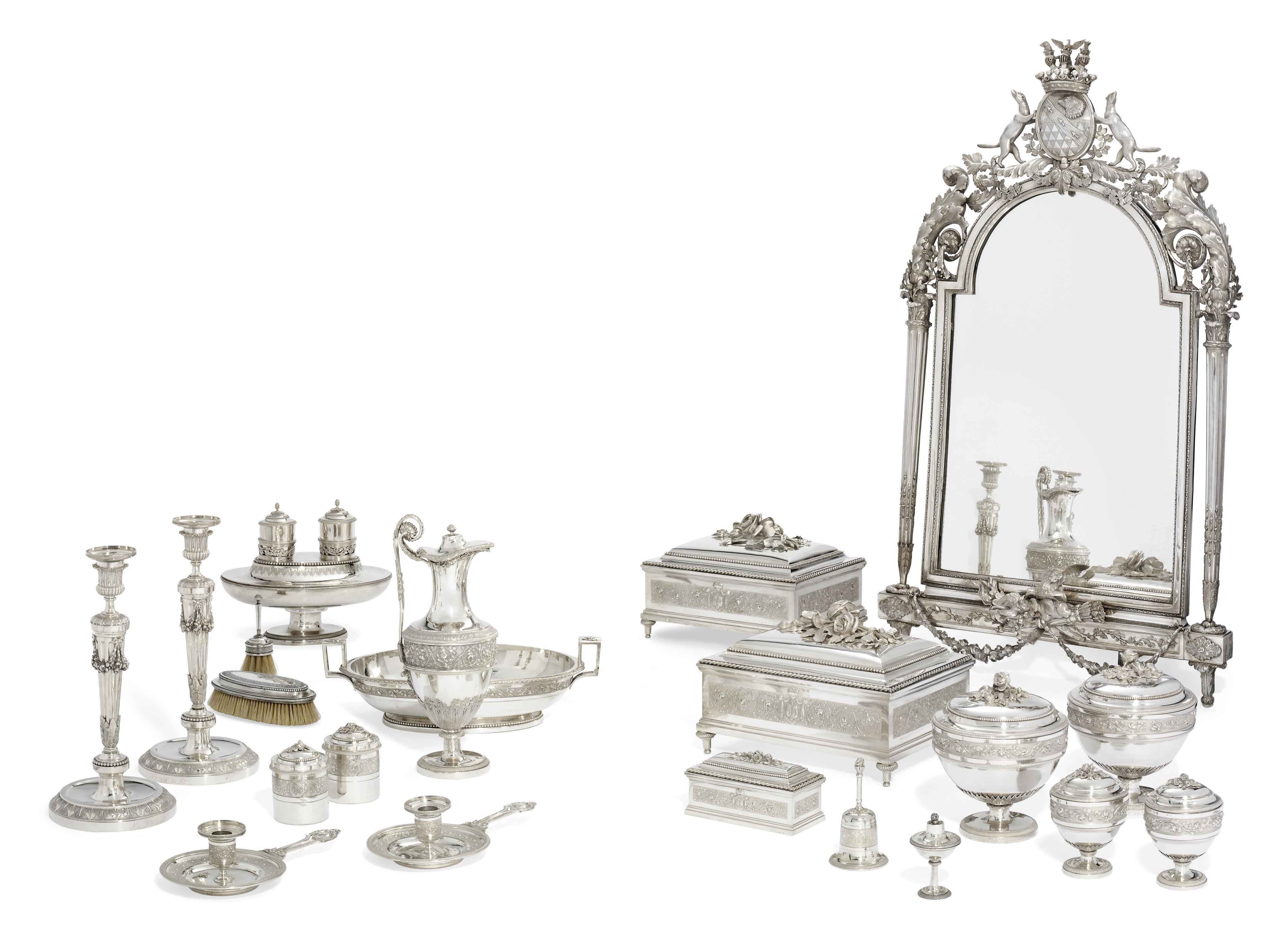 THE GALITZIN-STROGANOV SERVICE AN IMPORTANT LOUIS XVI SILVER DRESSING-TABLE SERVICE
