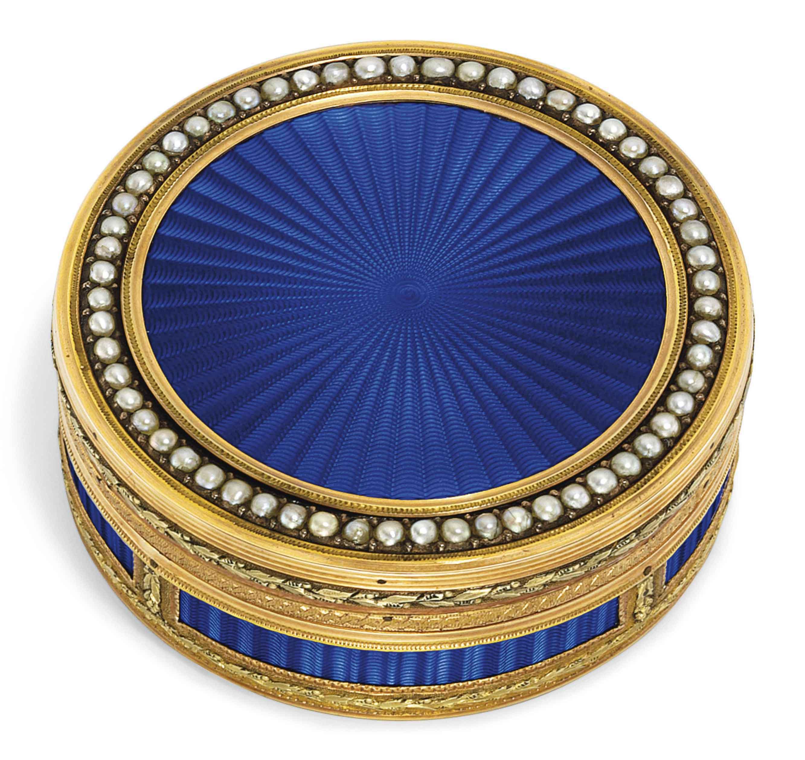 A LOUIS XVI SPLIT-PEARL BORDERED ENAMELLED GOLD BOITE-A-ROUGE