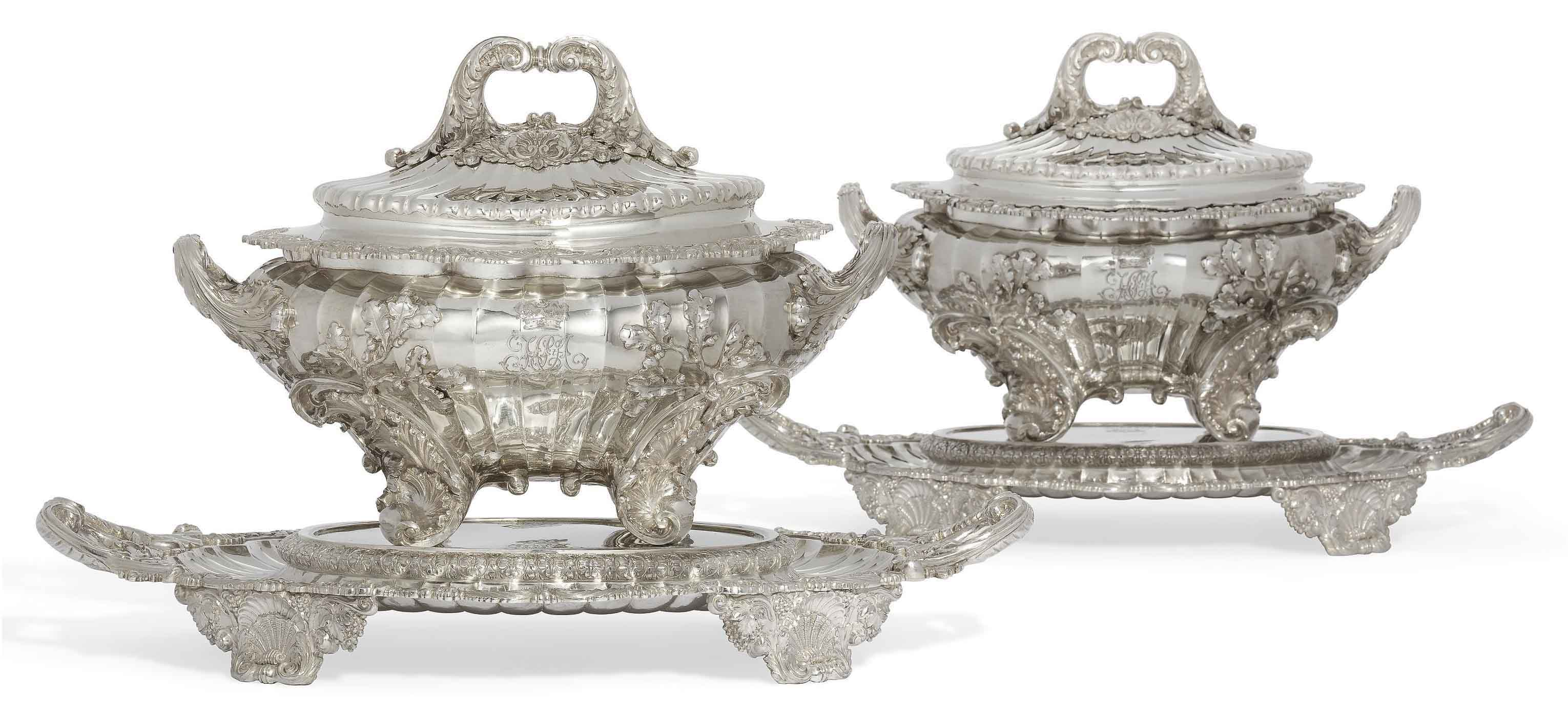 AN IMPORTANT PAIR OF GEORGE IV SILVER SOUP-TUREENS, COVERS AND STANDS FROM THE DUCHESS OF ST. ALBANS SERVICE