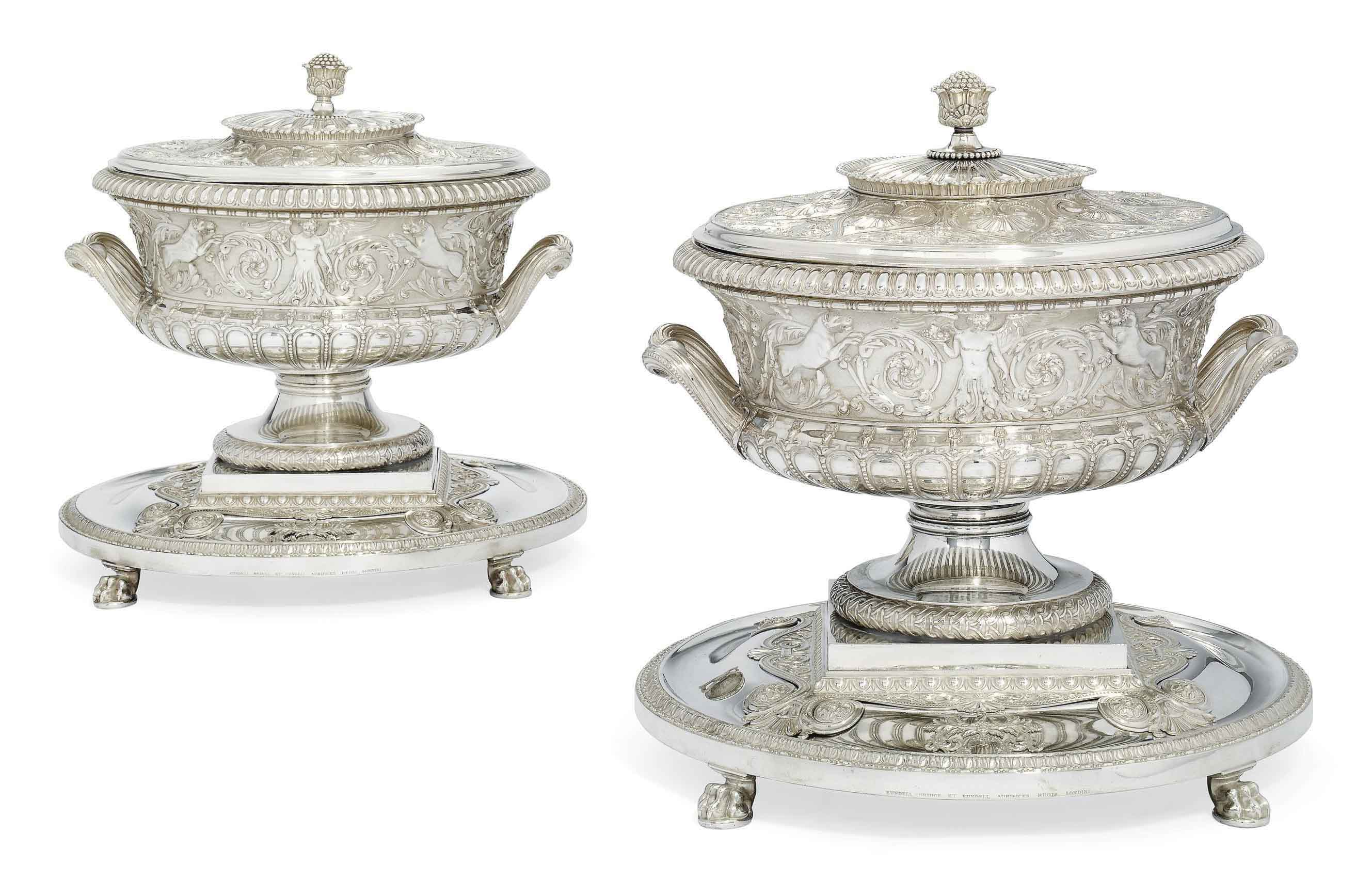 A PAIR OF GEORGE IV SILVER SOUP-TUREENS, STANDS, COVERS AND LINERS FROM THE SUTTON SERVICE