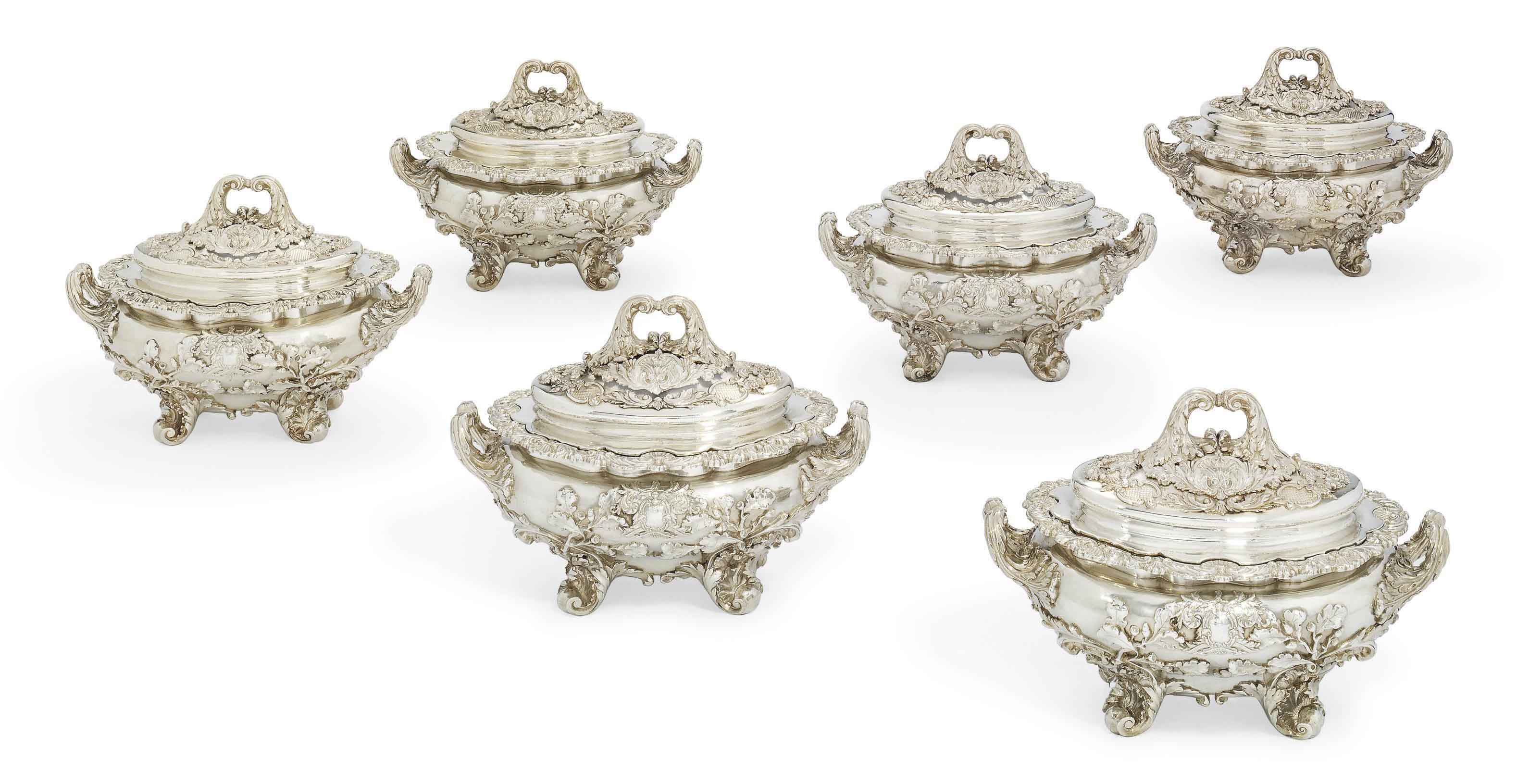 A SET OF SIX GEORGE III SILVER SAUCE-TUREENS, COVERS AND LINERS FROM THE SUTTON SERVICE