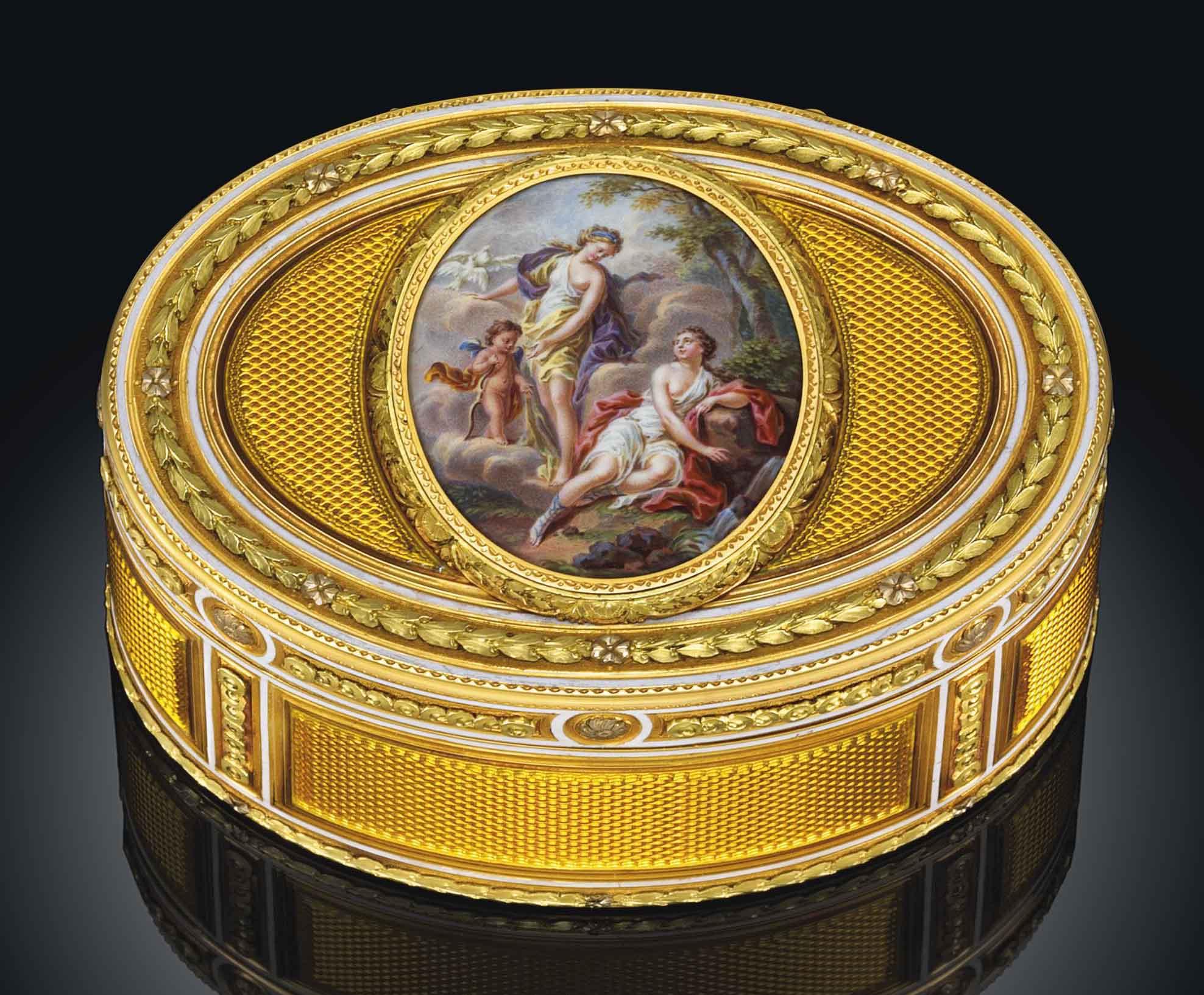 AN IMPORTANT LOUIS XVI ENAMELLED THREE-COLOUR GOLD SNUFF-BOX SET WITH AN ENAMEL PLAQUE