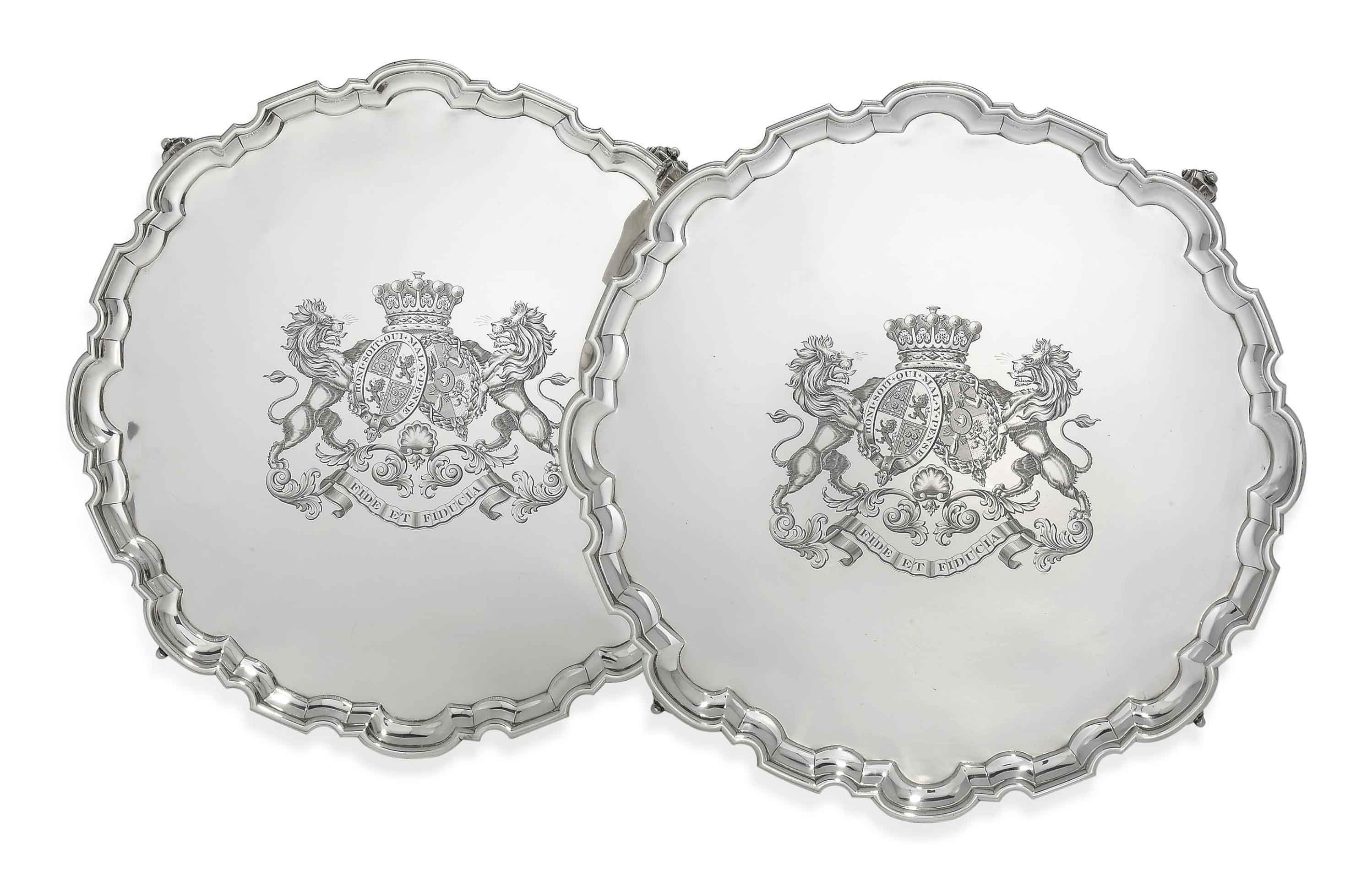 A PAIR OF VICTORIAN SILVER SALVERS