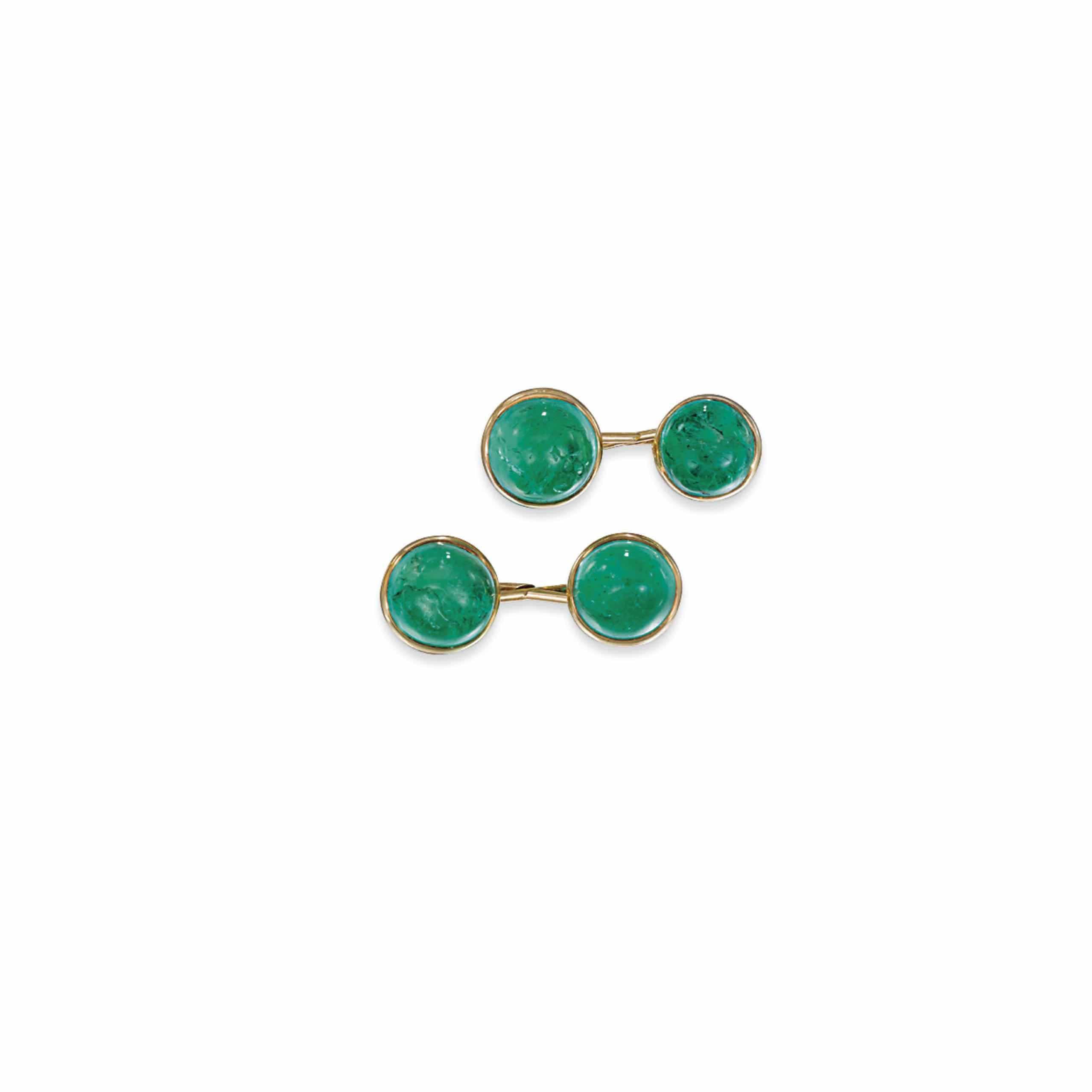 A PAIR OF EARLY 20TH CENTURY EMERALD CUFFLINKS, BY BLACK STARR & FROST