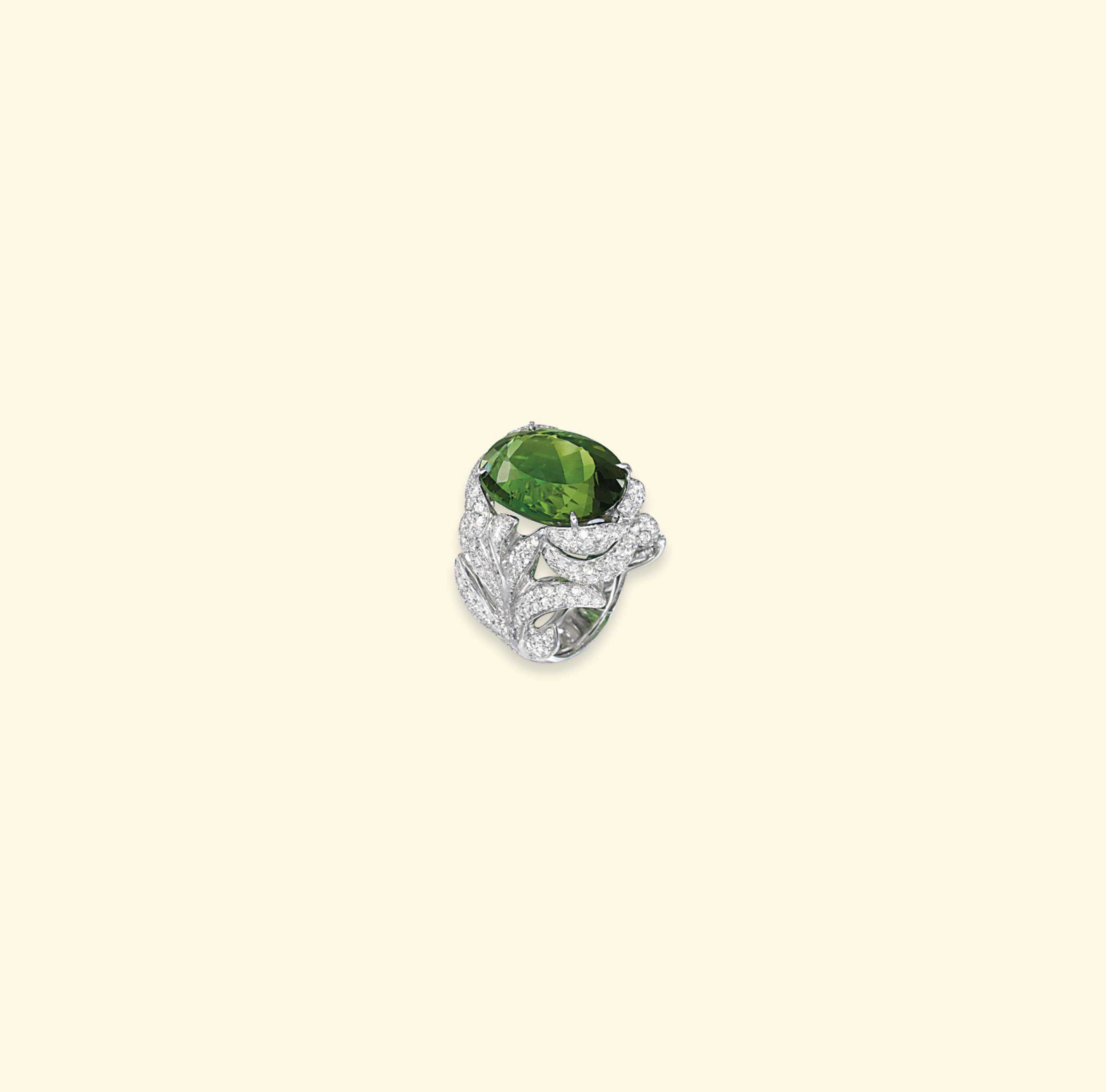 A GREEN TOURMALINE AND DIAMOND RING, BY MARGHERITA BURGENER