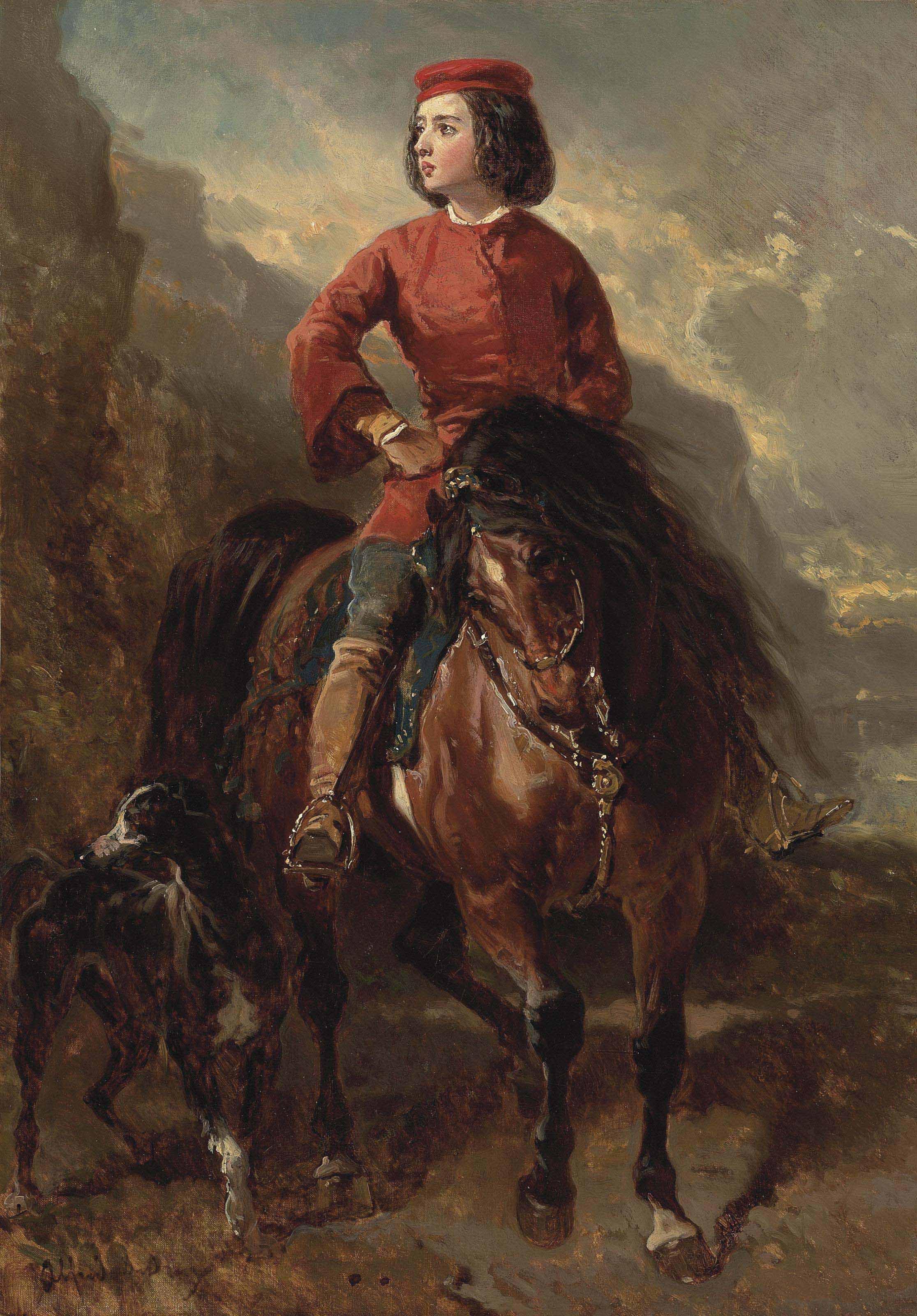 Jeune cavalier montant un shetland et lévrier