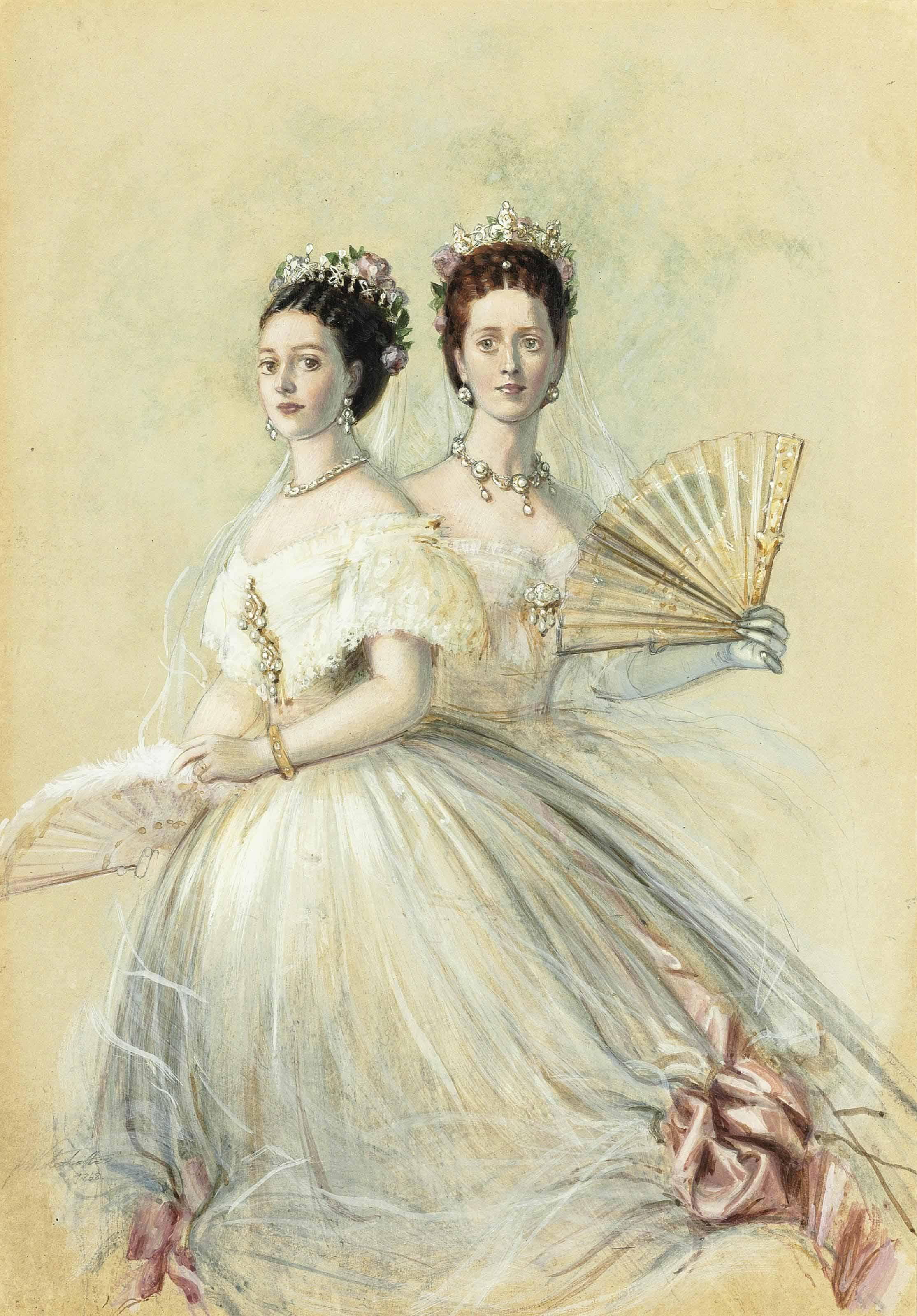 Portrait of Czarina Maria Feodorovna and her sister Alexandra, Princess of Wales