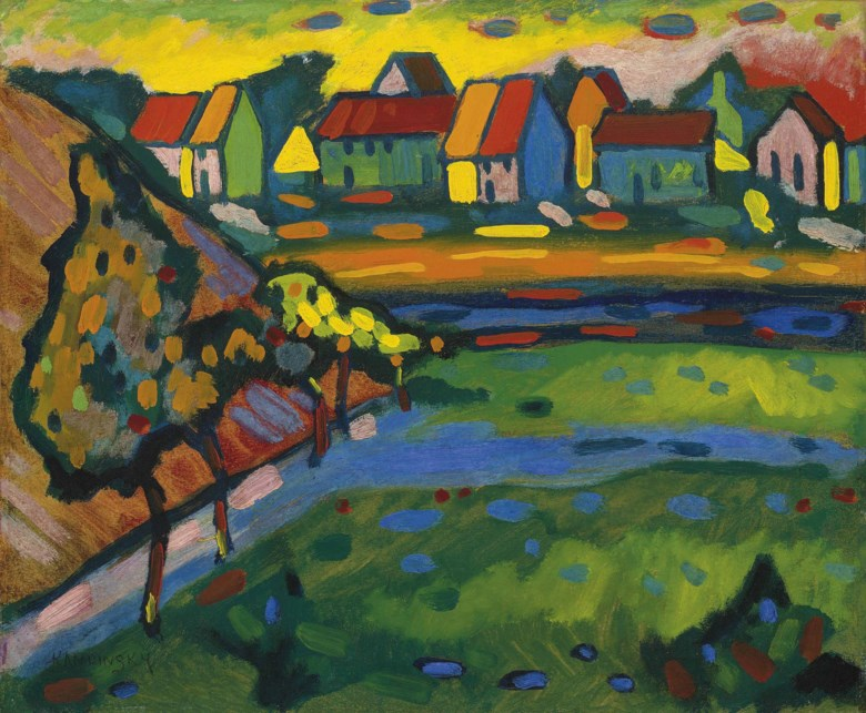 Wassily Kandinsky (1866-1944), Bayerisches Dorf mit Feld, 1908. 15 x 18⅛  in (38 x 46  cm). Sold for £4,969,250 on 21 June 2011  at Christie's in London