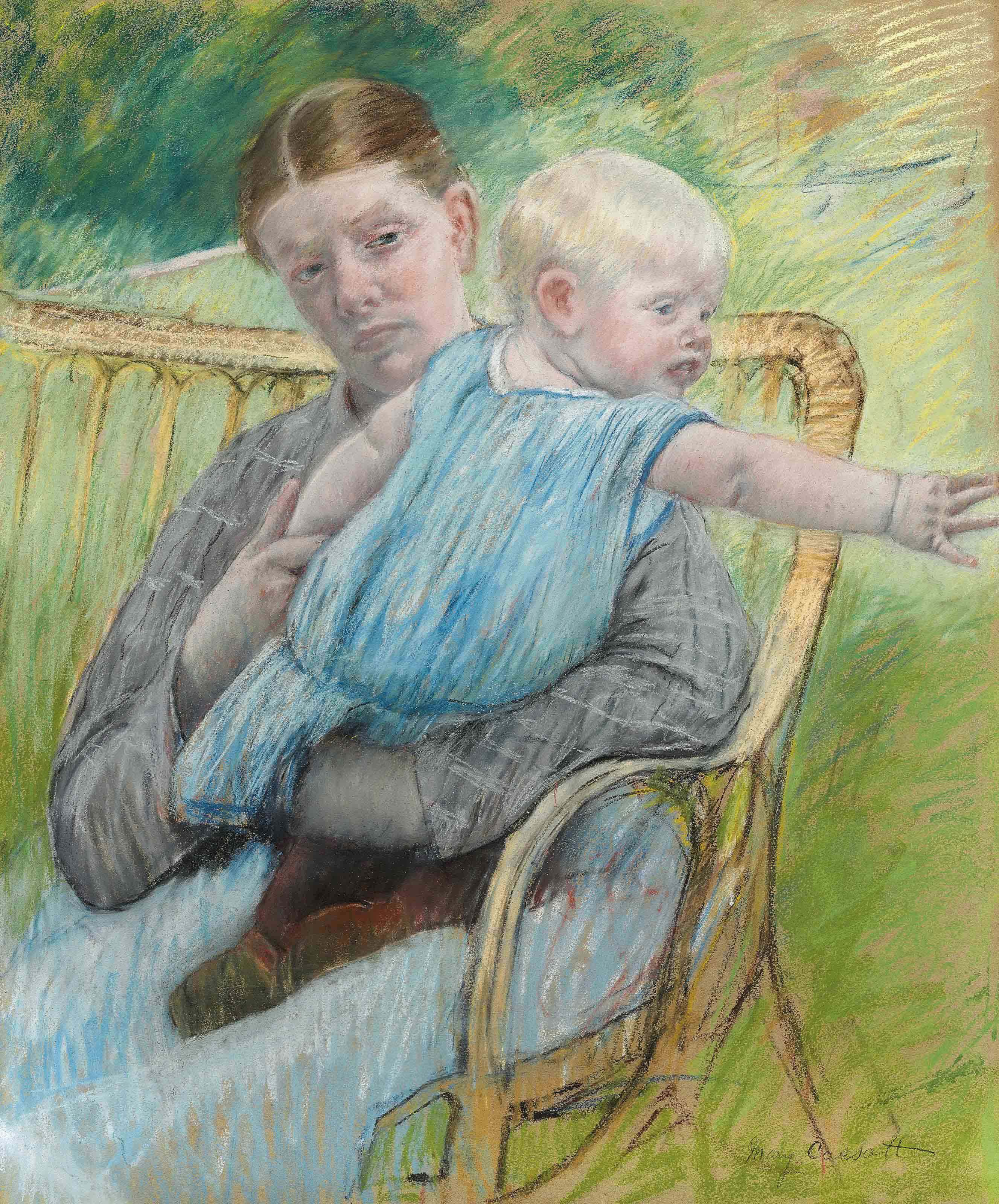 Mathilde Holding Baby who Reaches out to Right