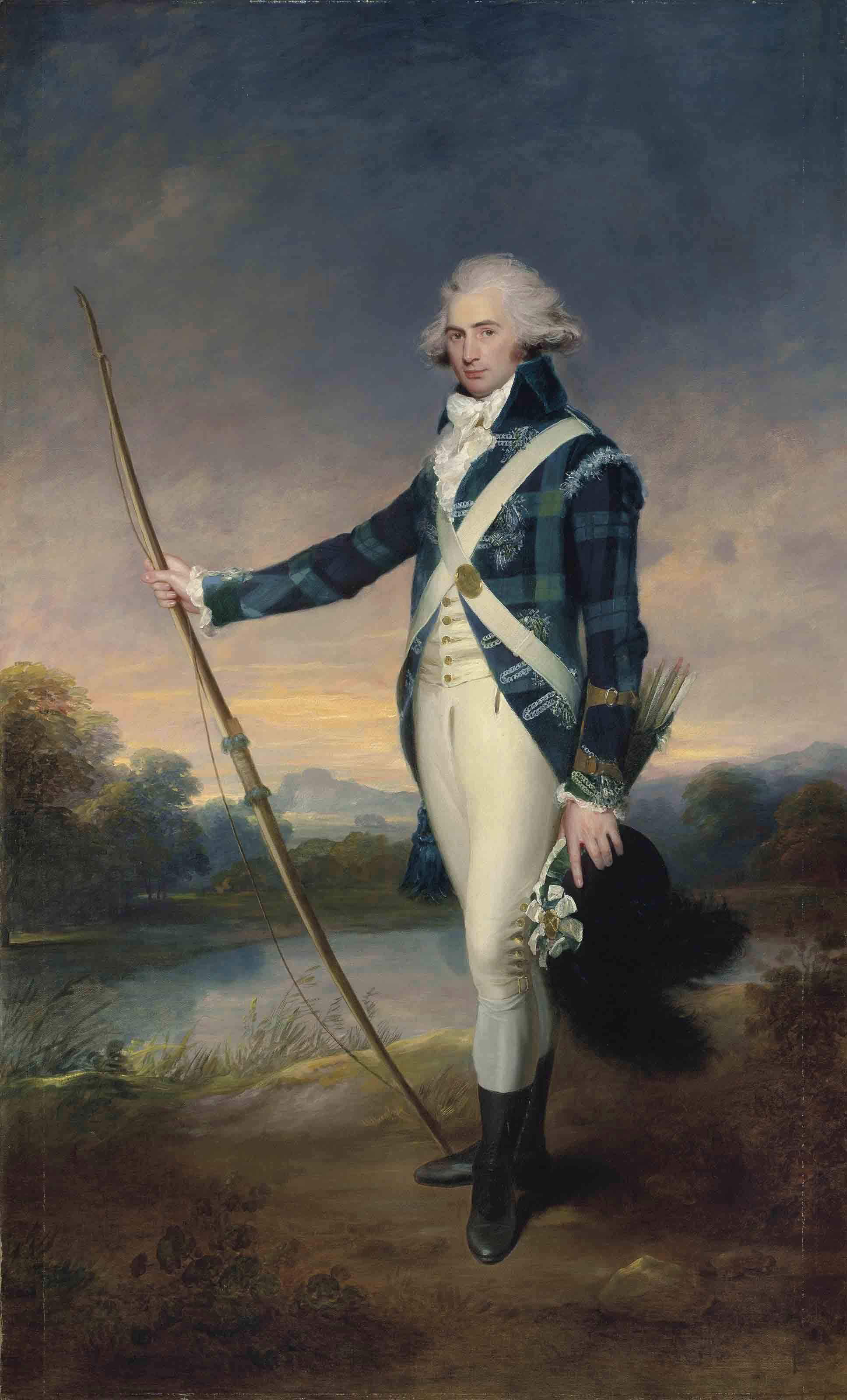 Portrait of George Douglas, 16th Earl of Morton, K.T. (1761-1827), full-length, holding a bow, in the dress of the Royal Company of Archers, holding a longbow and a black-plumed white cockaded cap, in Holyrood Park, with Duddingston Loch and Edinburgh Castle beyond