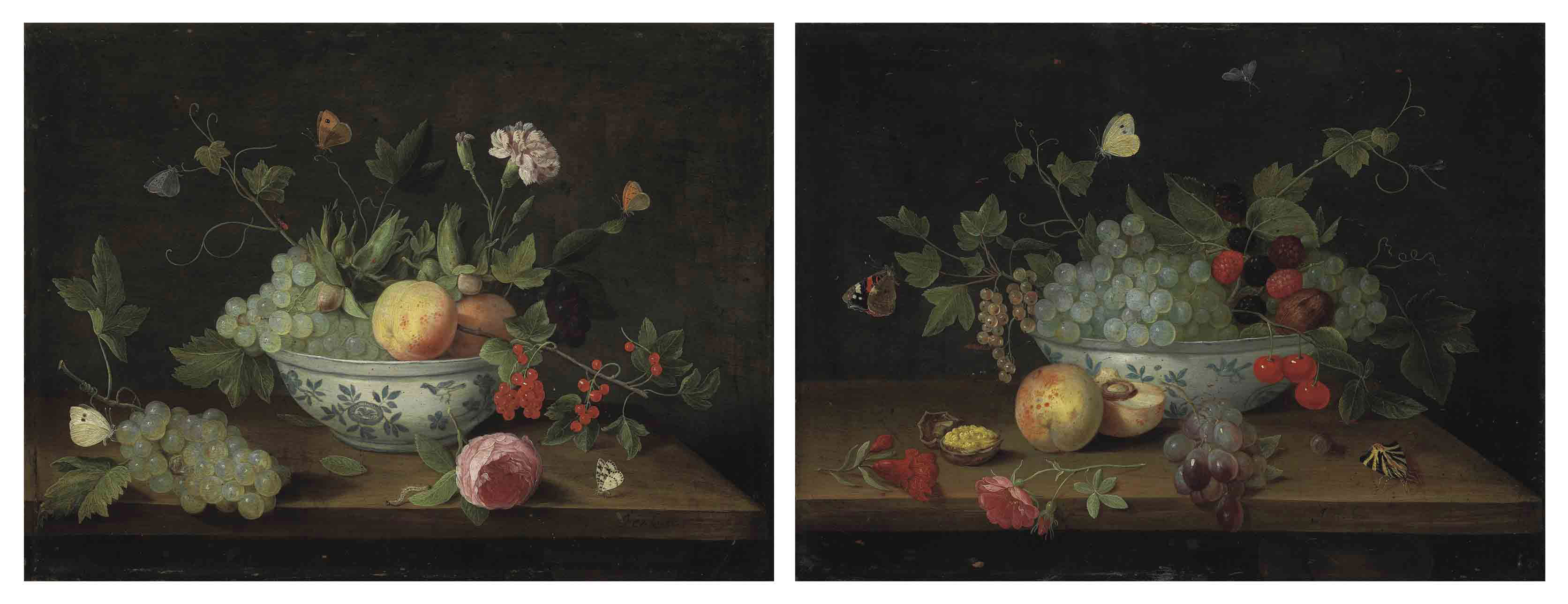 Grapes, peaches, cranberries, flowers and butterflies, in a porcelain bowl on a wooden ledge; and Grapes, blackberries, cherries, butterflies and a walnut in a porcelain bowl on a wooden ledge