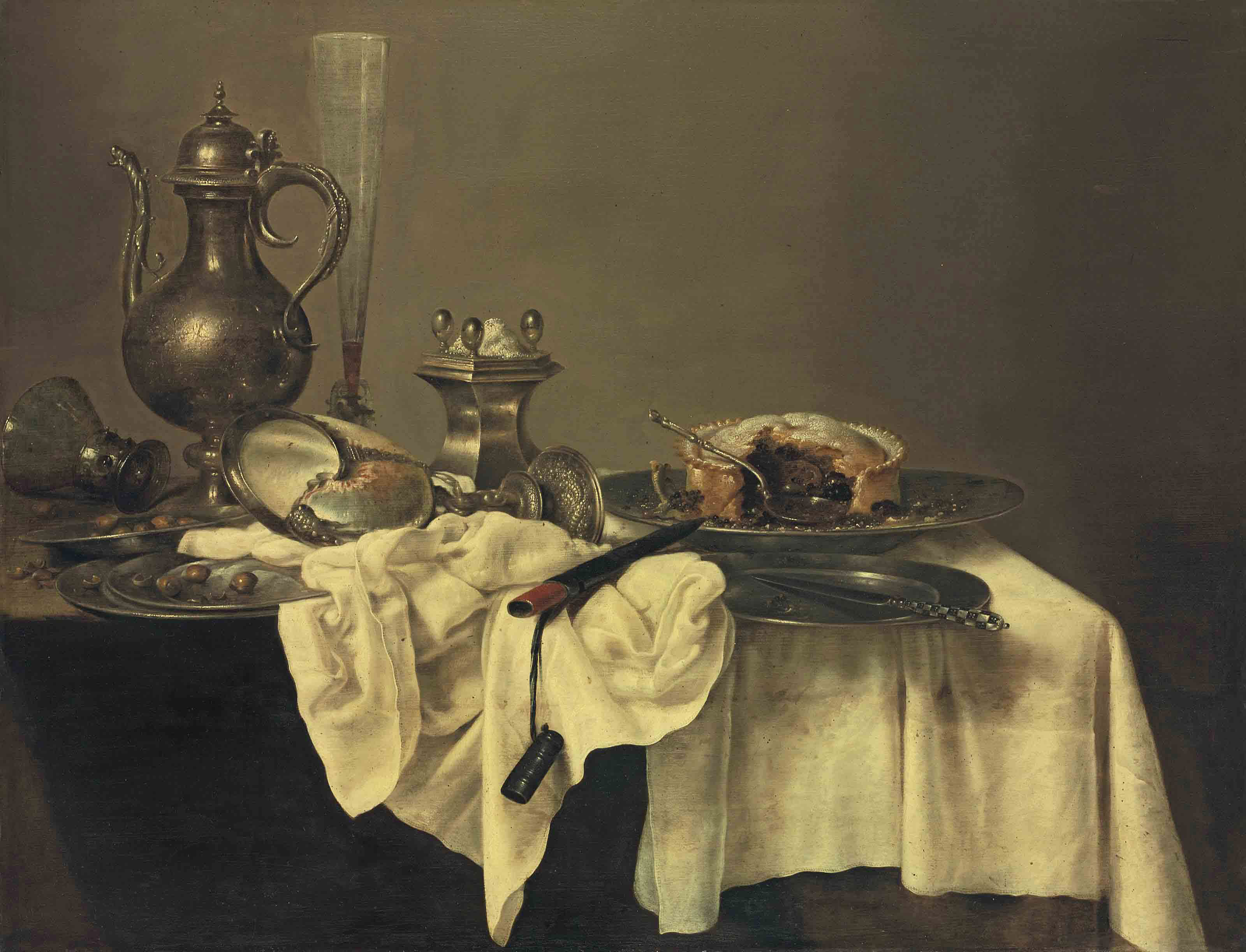 A blackberry pie, an upturned nautilus cup, a salt-cellar, a façon- de-Venise flute of wine, a silver ewer, an upturned roemer, hazelnuts, a silver knife and a knife-case, on a partly-draped table with pewter plates
