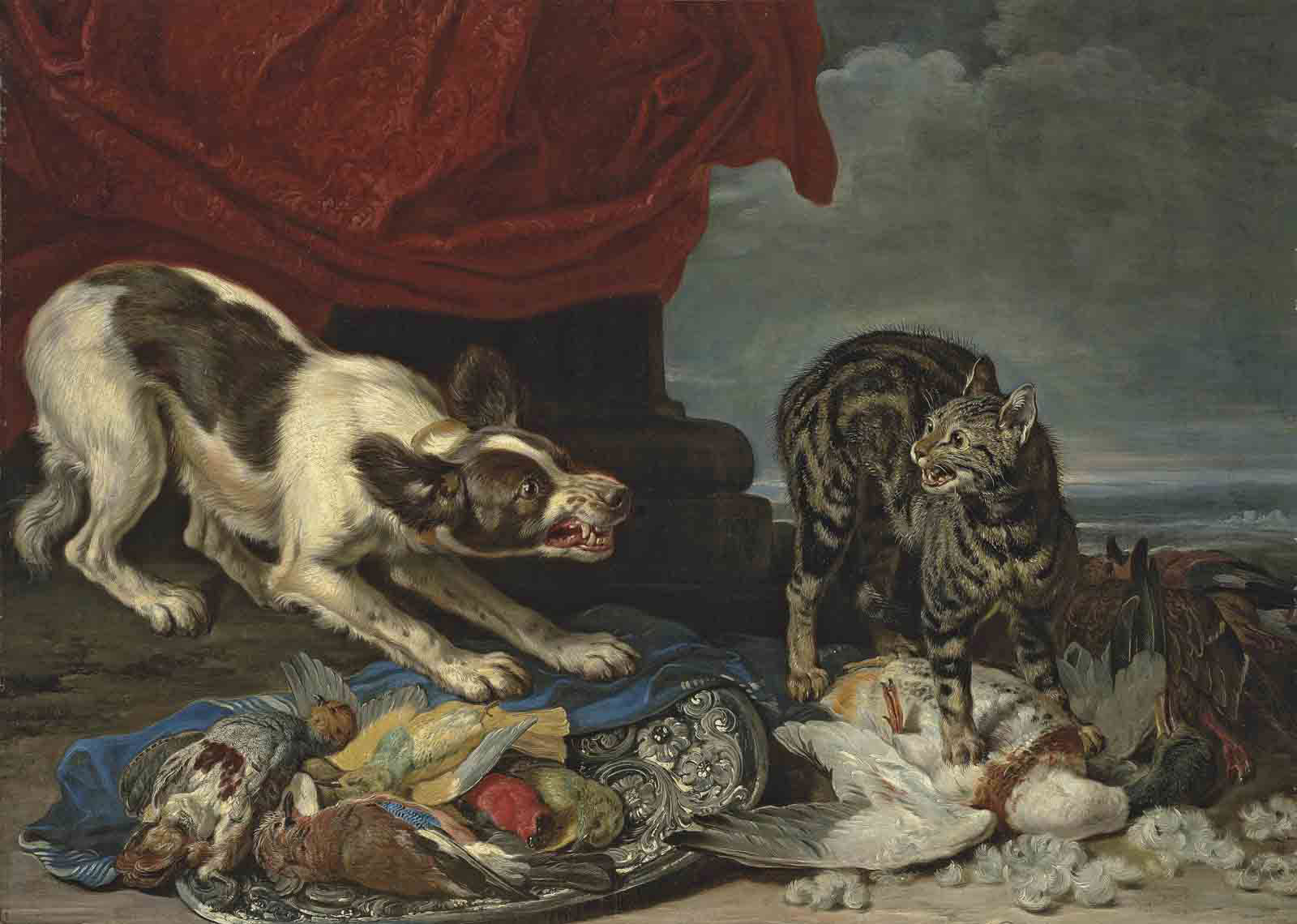 A cat and a dog fighting over fowl, a column with draped curtain and coastal landscape beyond