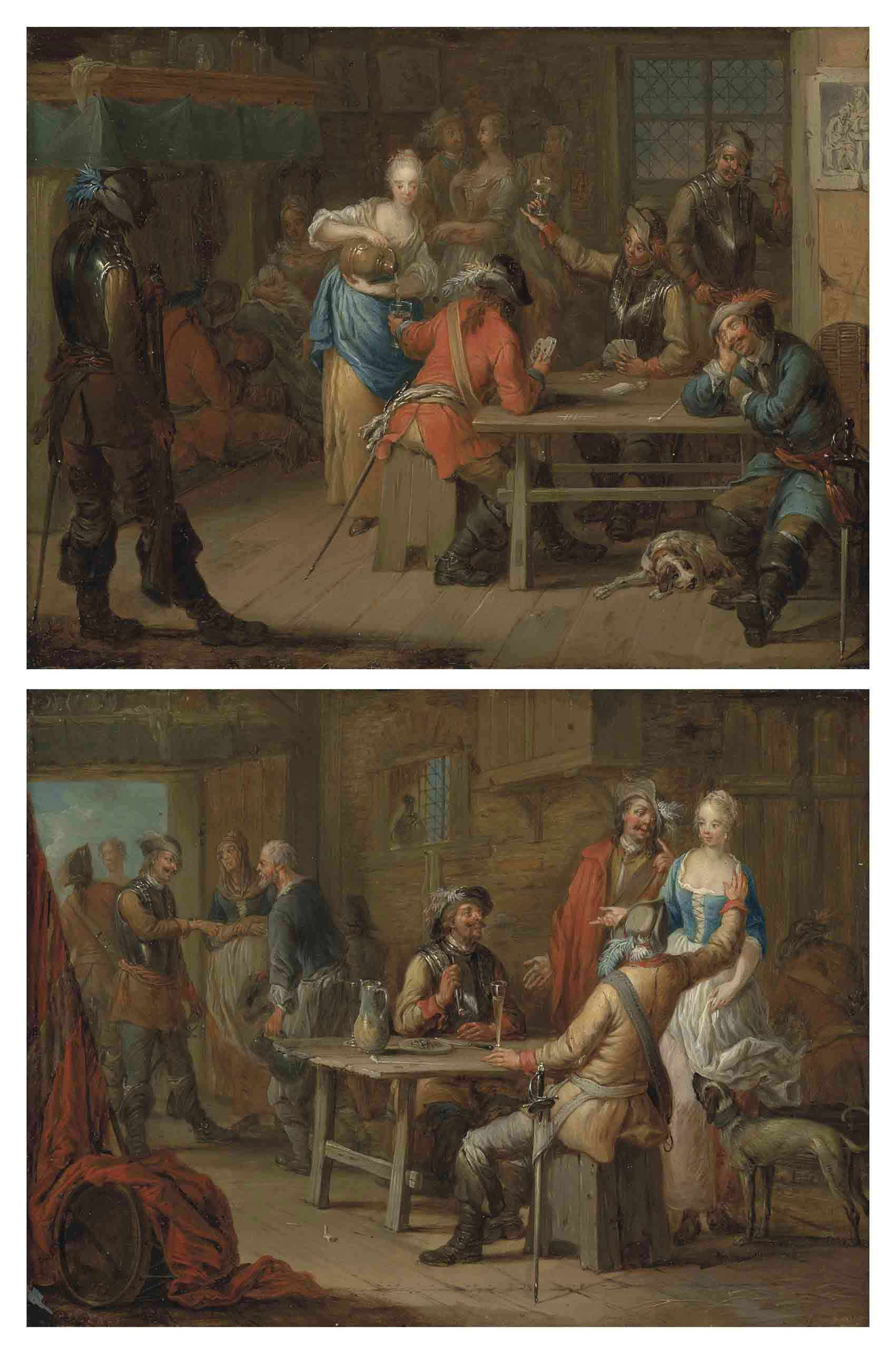Soldiers playing cards in an inn; and Soldiers merrymaking in an inn