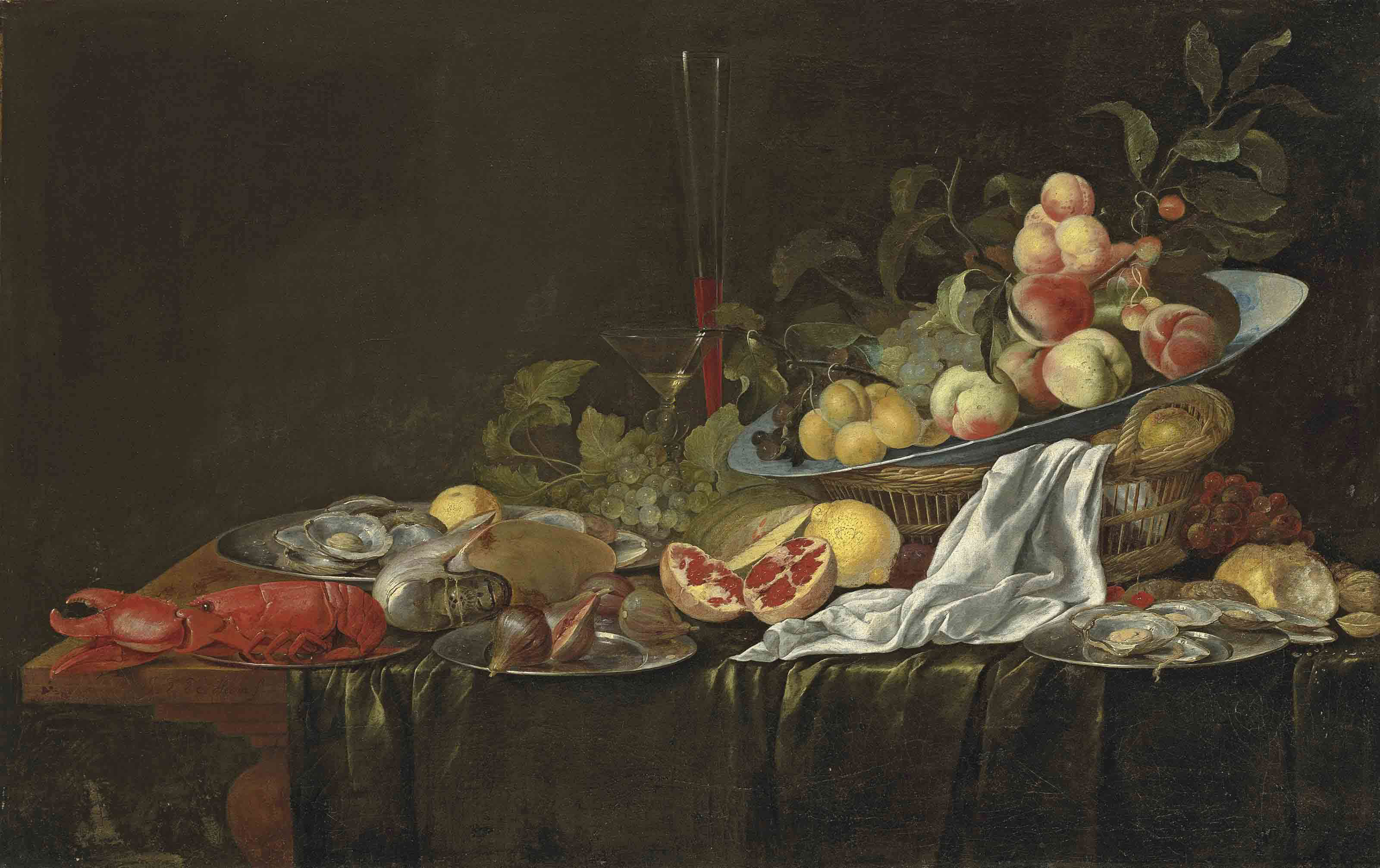 A lobster, a nautilus, figs, oysters, a split pomegranate, a porcelain bowl with plums, peaches and grapes in a basket, glasses and a white cloth, on a partly draped wooden table