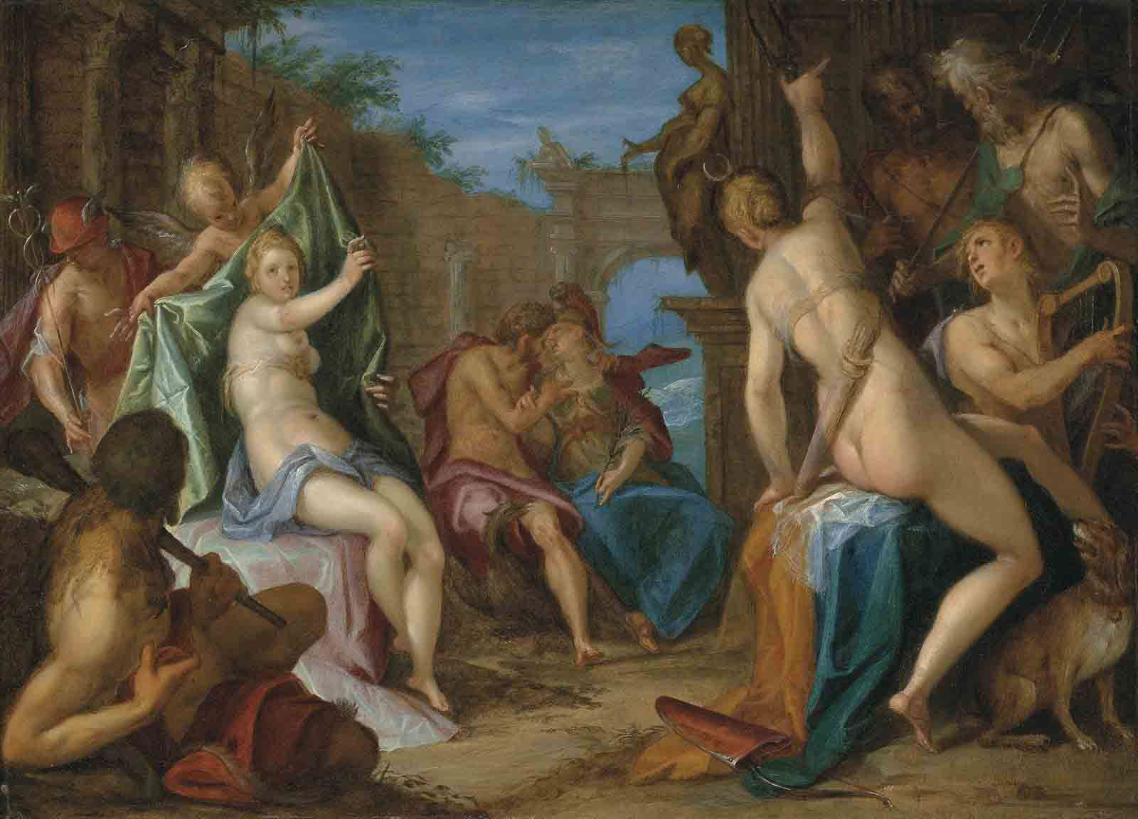 An Assembly of the Gods, with Jupiter embracing Minerva, Venus confronting Diana observed by Hercules, Mercury, Cupid and Apollo, and Neptune and Hades conversing, in classical ruins