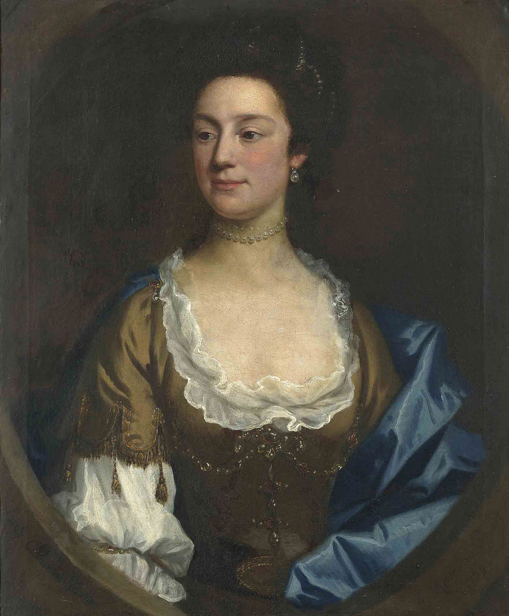 Portrait of Lady Catherine Hanmer, bust-length, in a brown decollété dress and shawl, with a pearl necklace, in a feigned oval