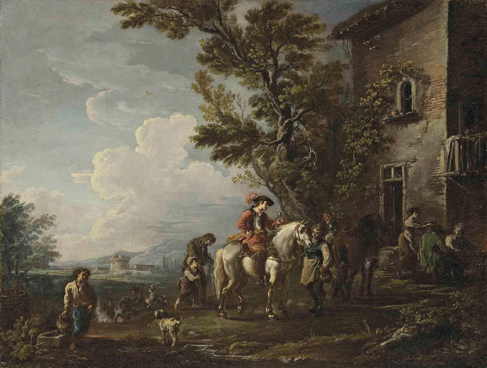 An Italian landscape with horsemen halting at an inn