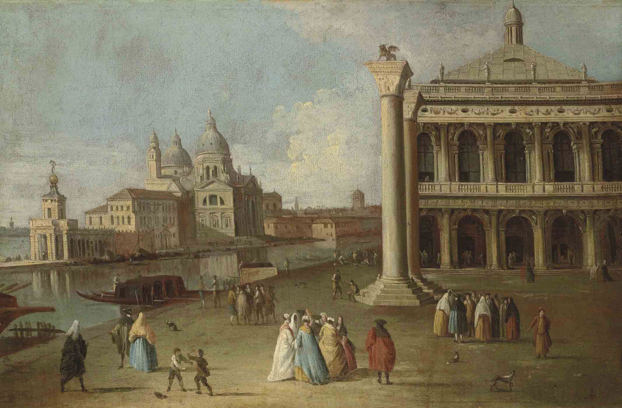 A view of the Piazzetta, Venice, with the Columns of Saints Mark and Theodore and the Library, the entrance to the Grand Canal with the Punta della Dogana and Santa Maria della Salute beyond
