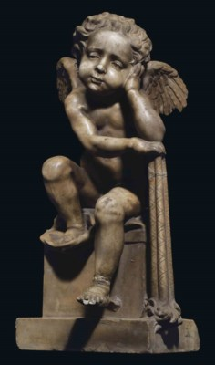 A CARVED MARBLE FIGURE OF A CH