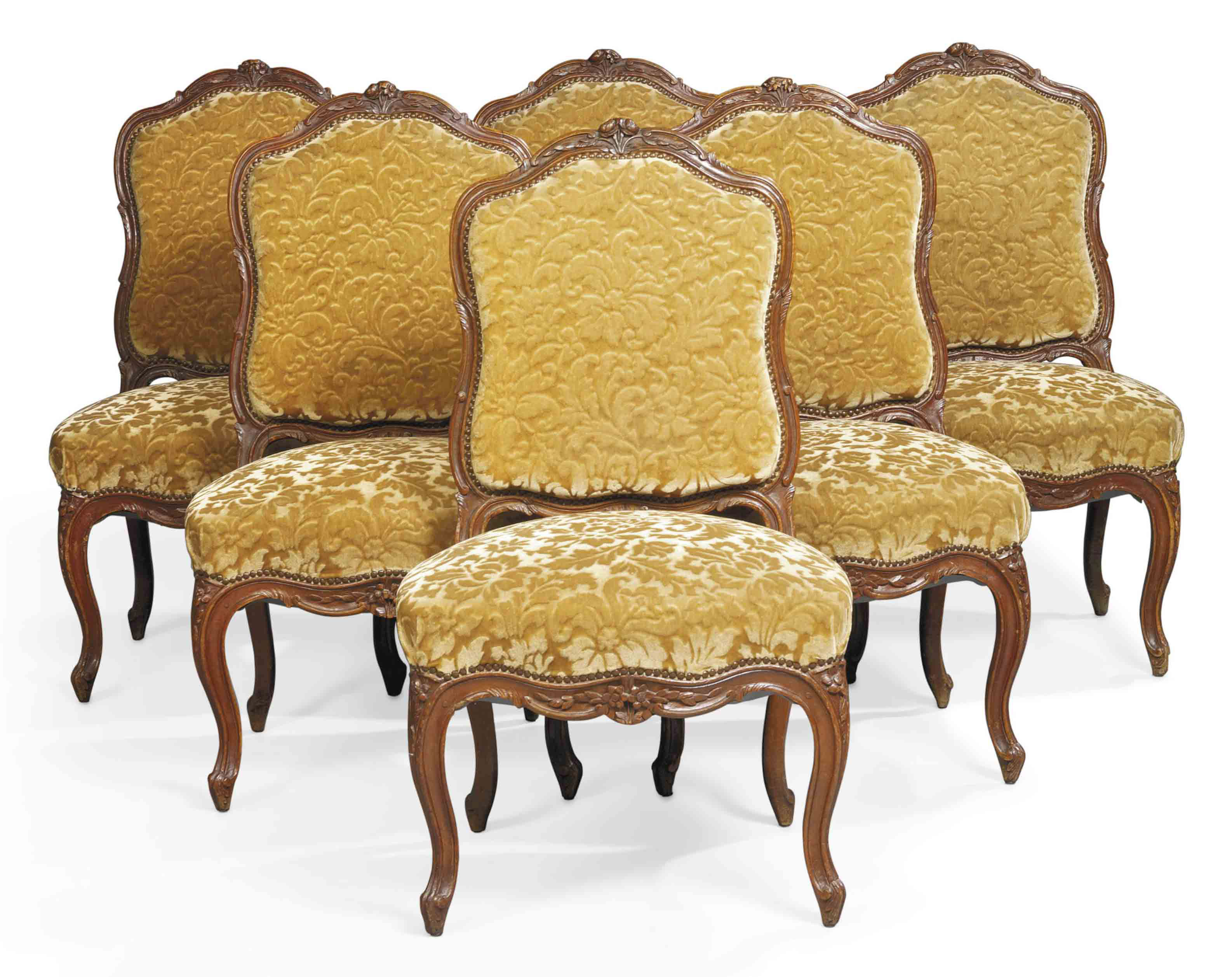 A SET OF SIX LOUIS XV STAINED WALNUT SIDE CHAIRS