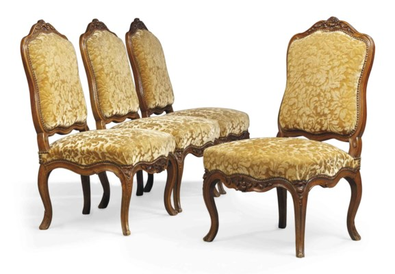 A SET OF FOUR LOUIS XV CARVED