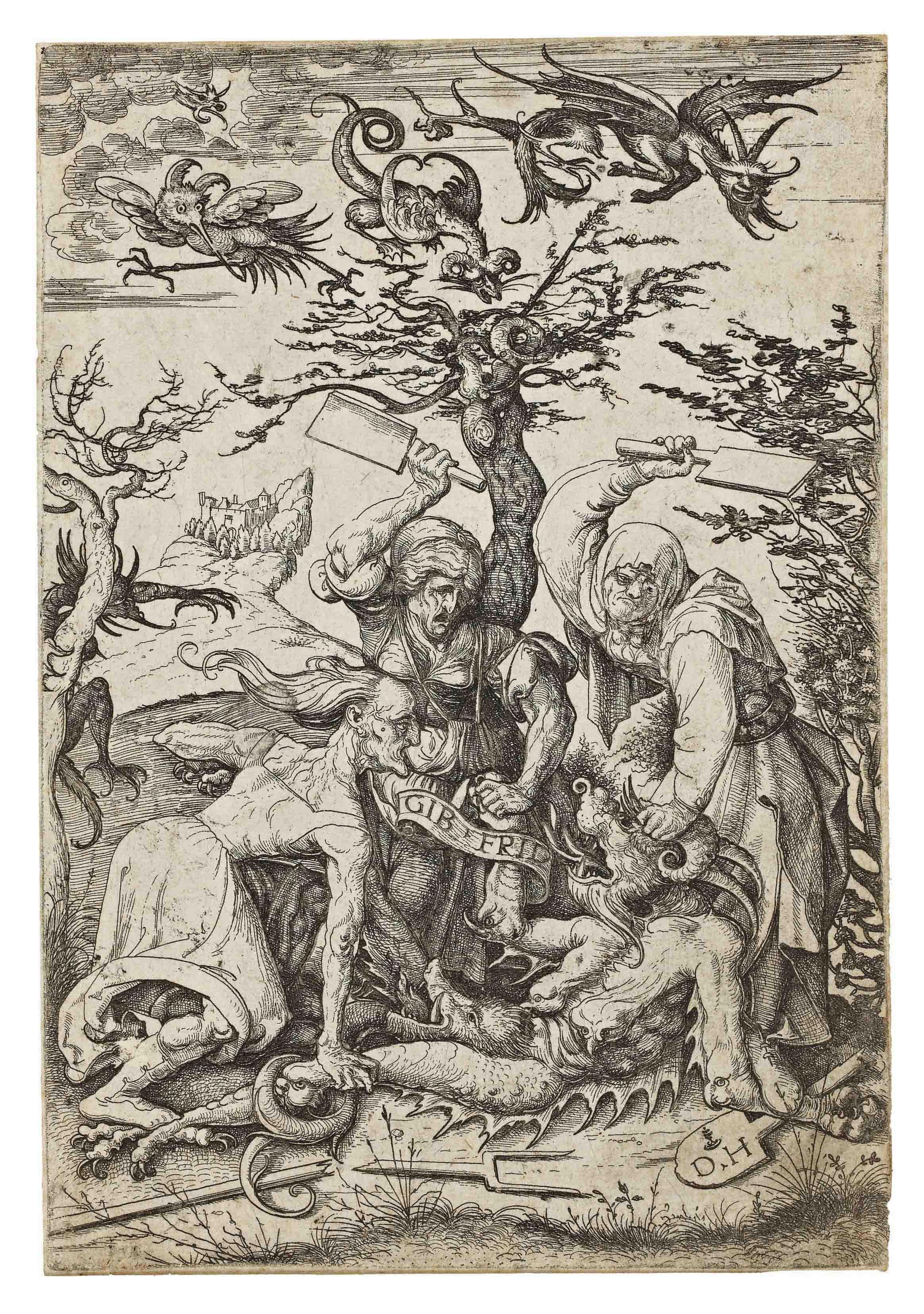 Three Old Women beating the Devil (B. 71; Holl. 80)
