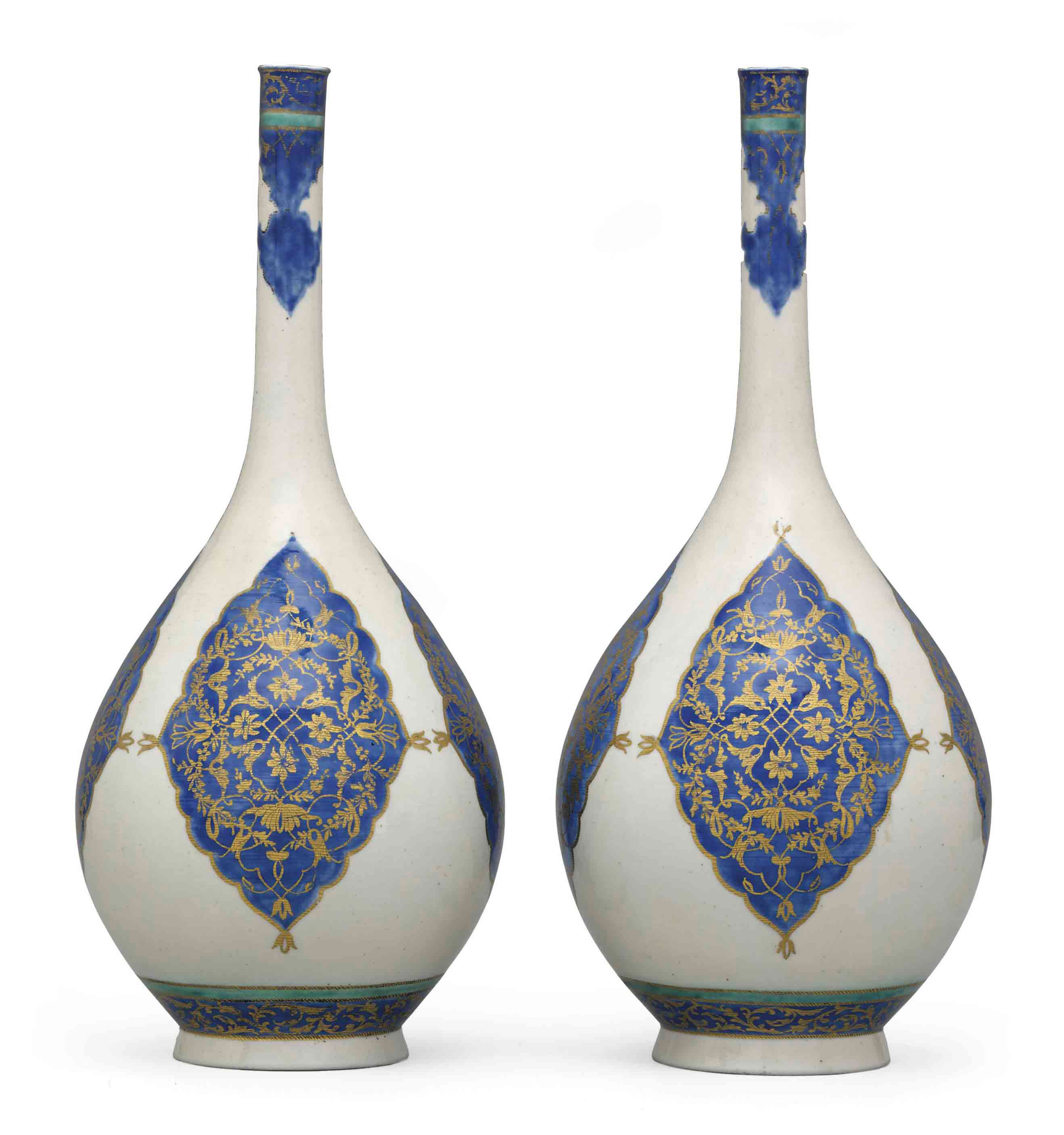 A PAIR OF LARGE BLUE, GREEN AND WHITE BOTTLE VASES