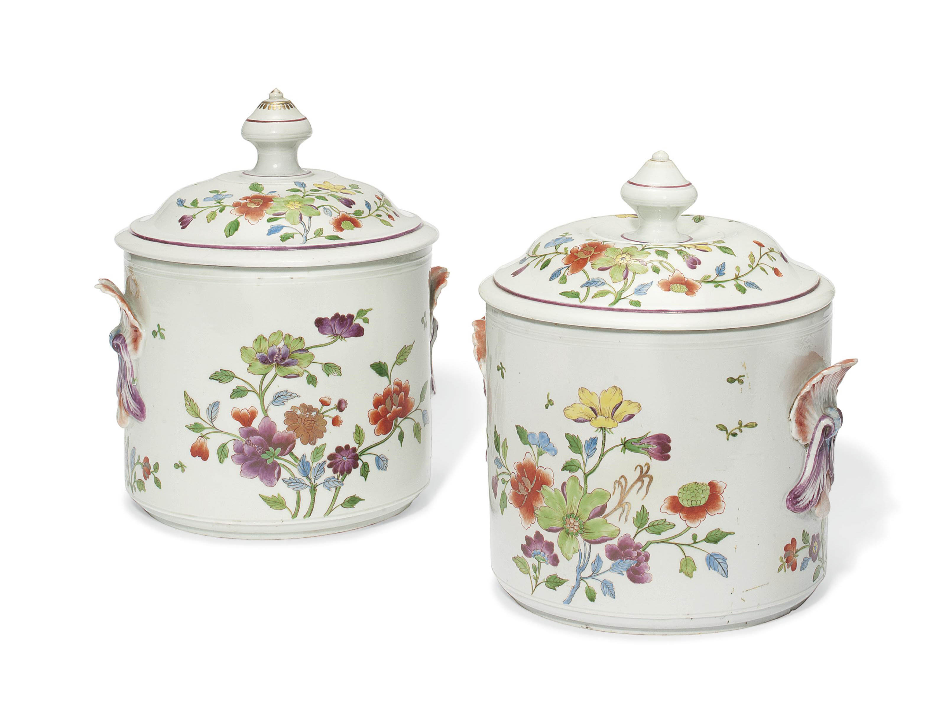 TWO DOCCIA TWO-HANDLED FRUIT-COOLERS AND COVERS