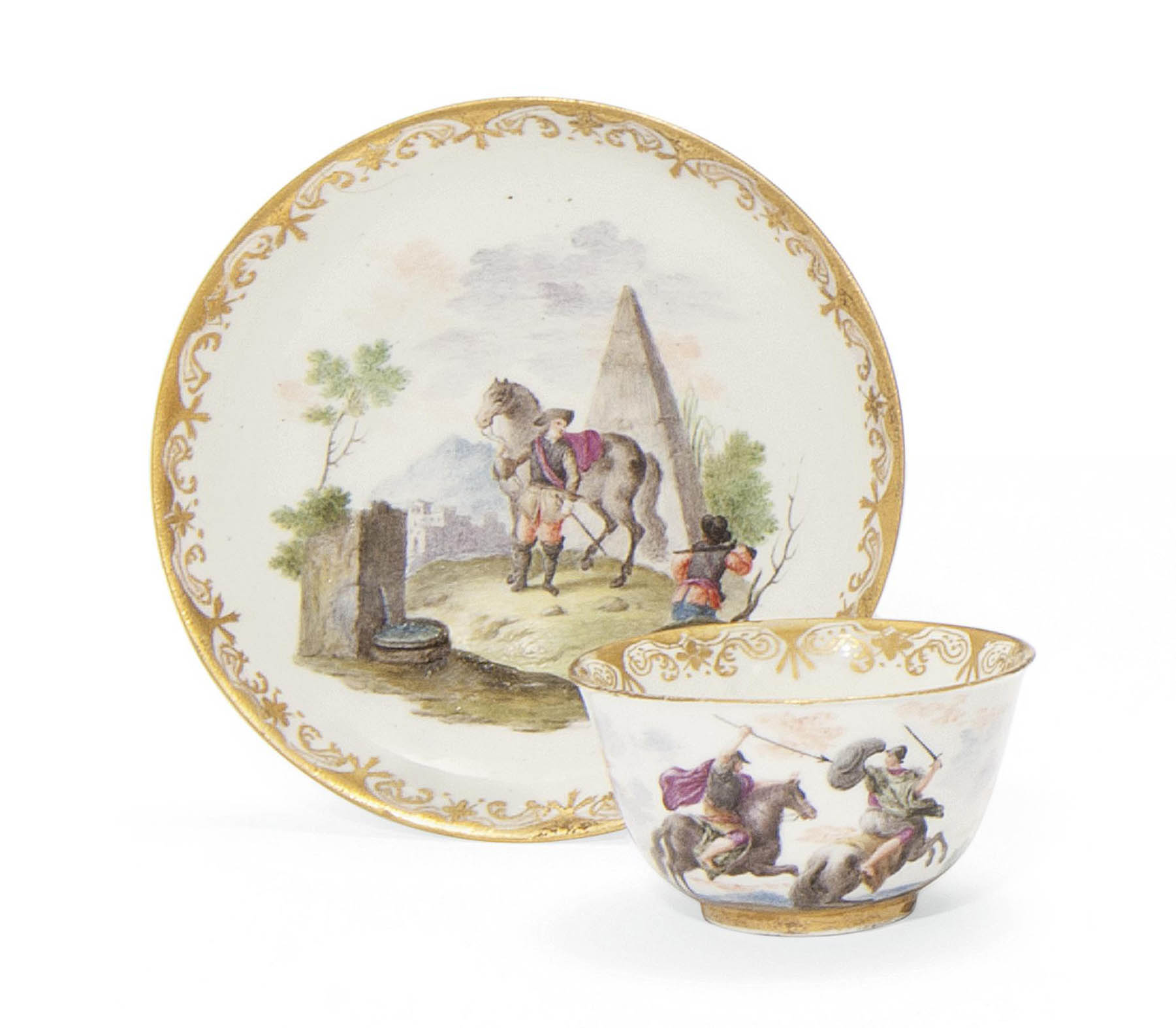 A CAPODIMONTE (CARLO III) TEABOWL AND SAUCER