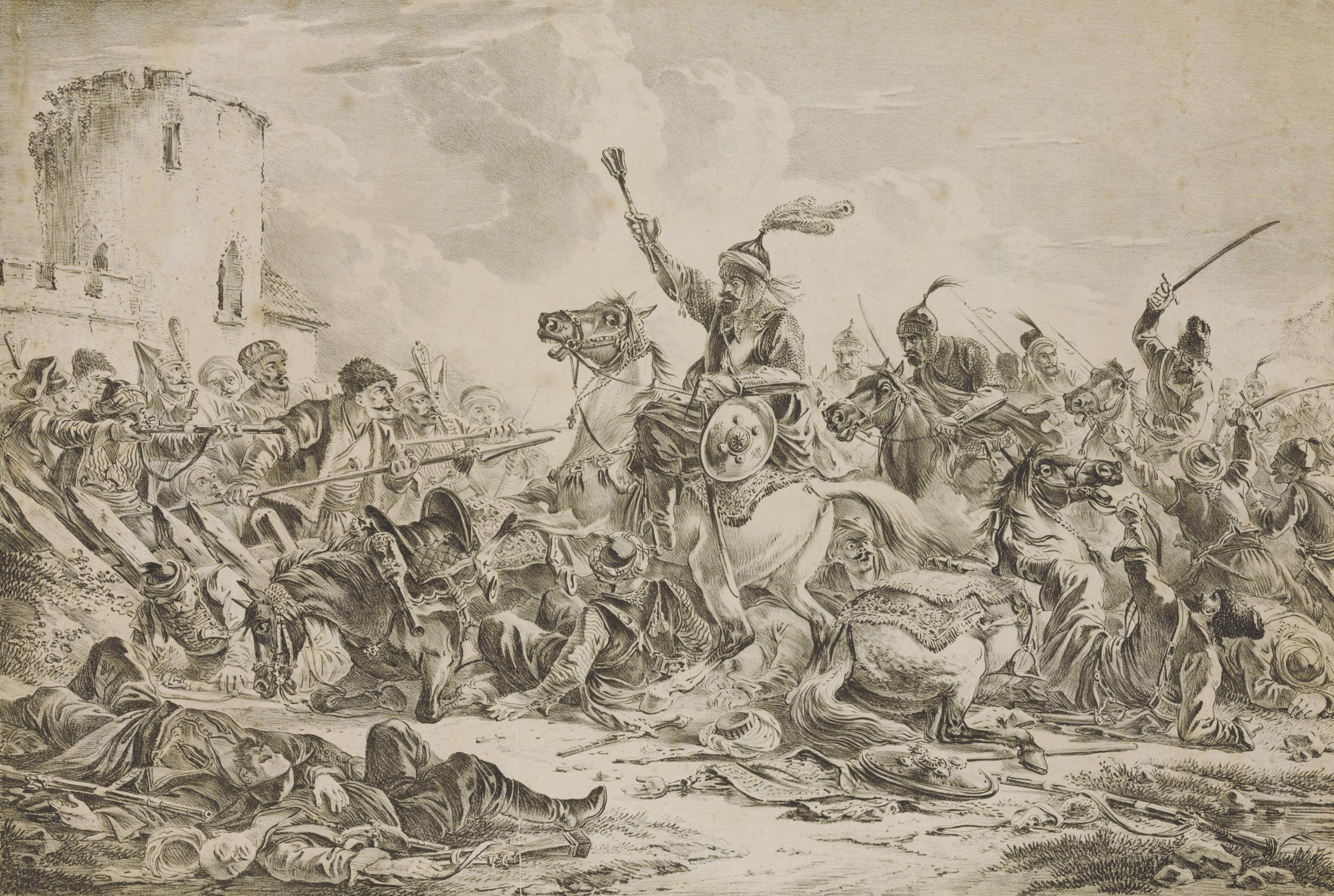 Battle between the Georgians and the mountain tribes