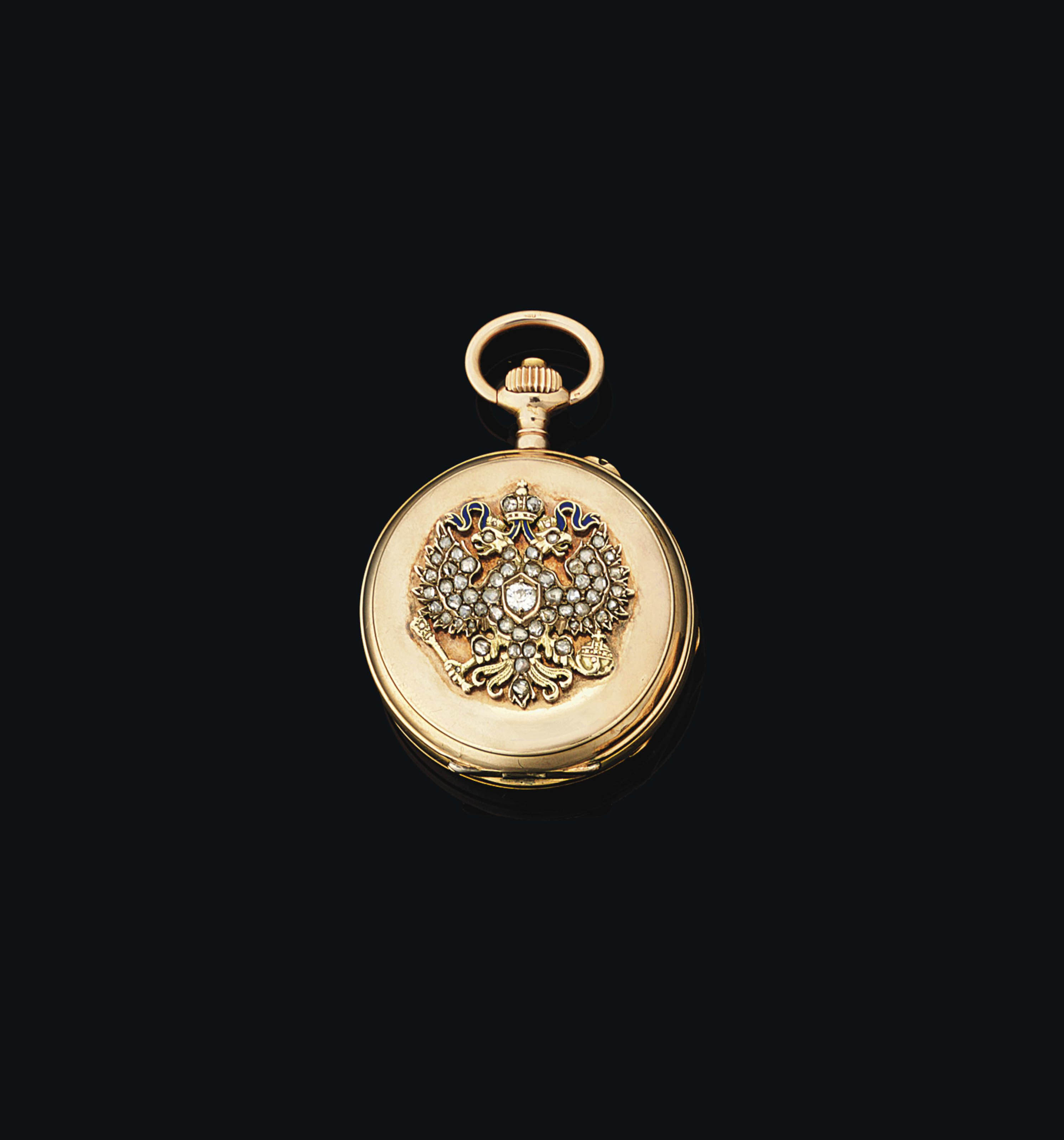 A JEWELLED TWO-COLOUR GOLD AND GUILLOCHÉ ENAMEL PRESENTATION POCKET WATCH