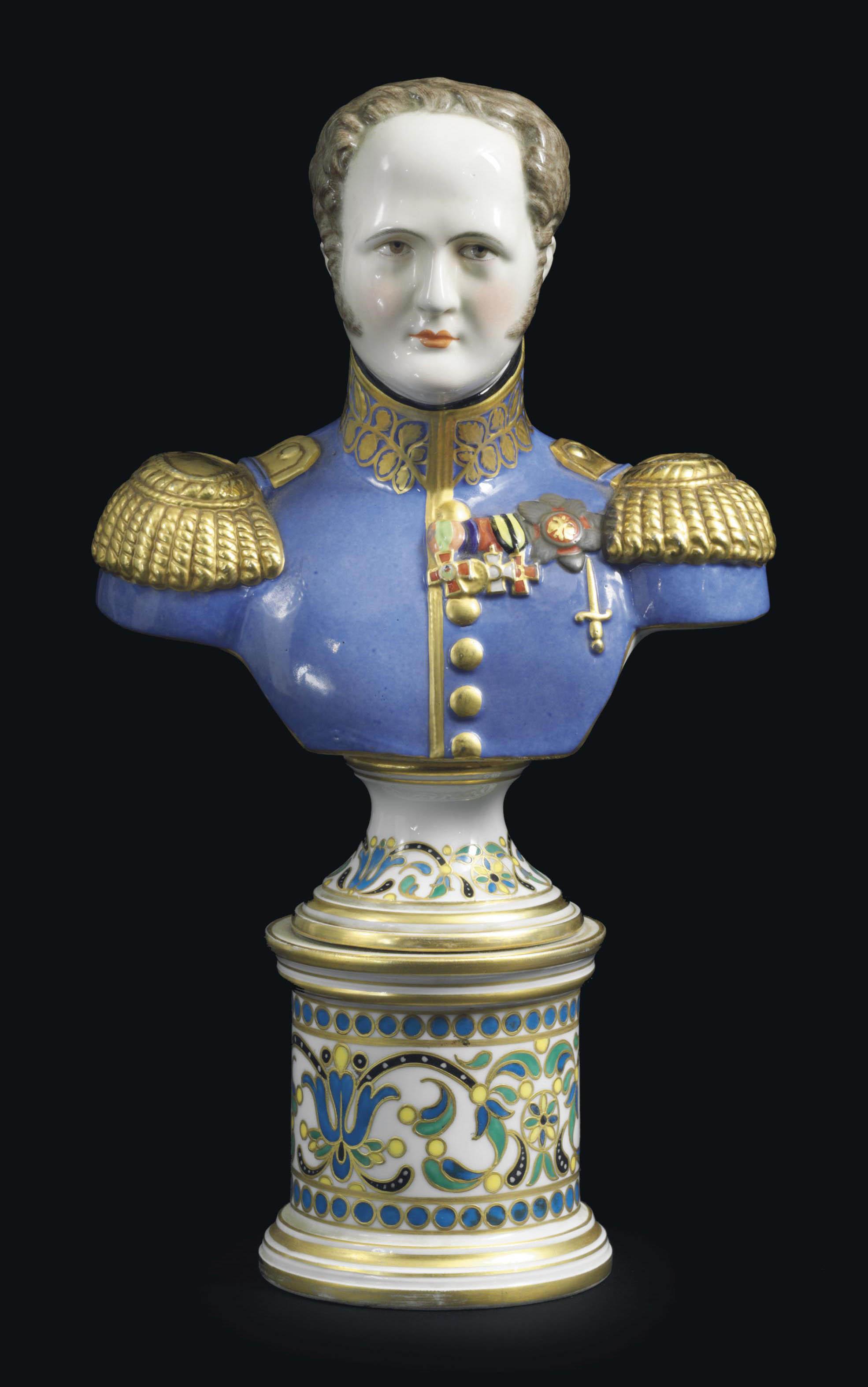A PORCELAIN BUST OF EMPEROR ALEXANDER I
