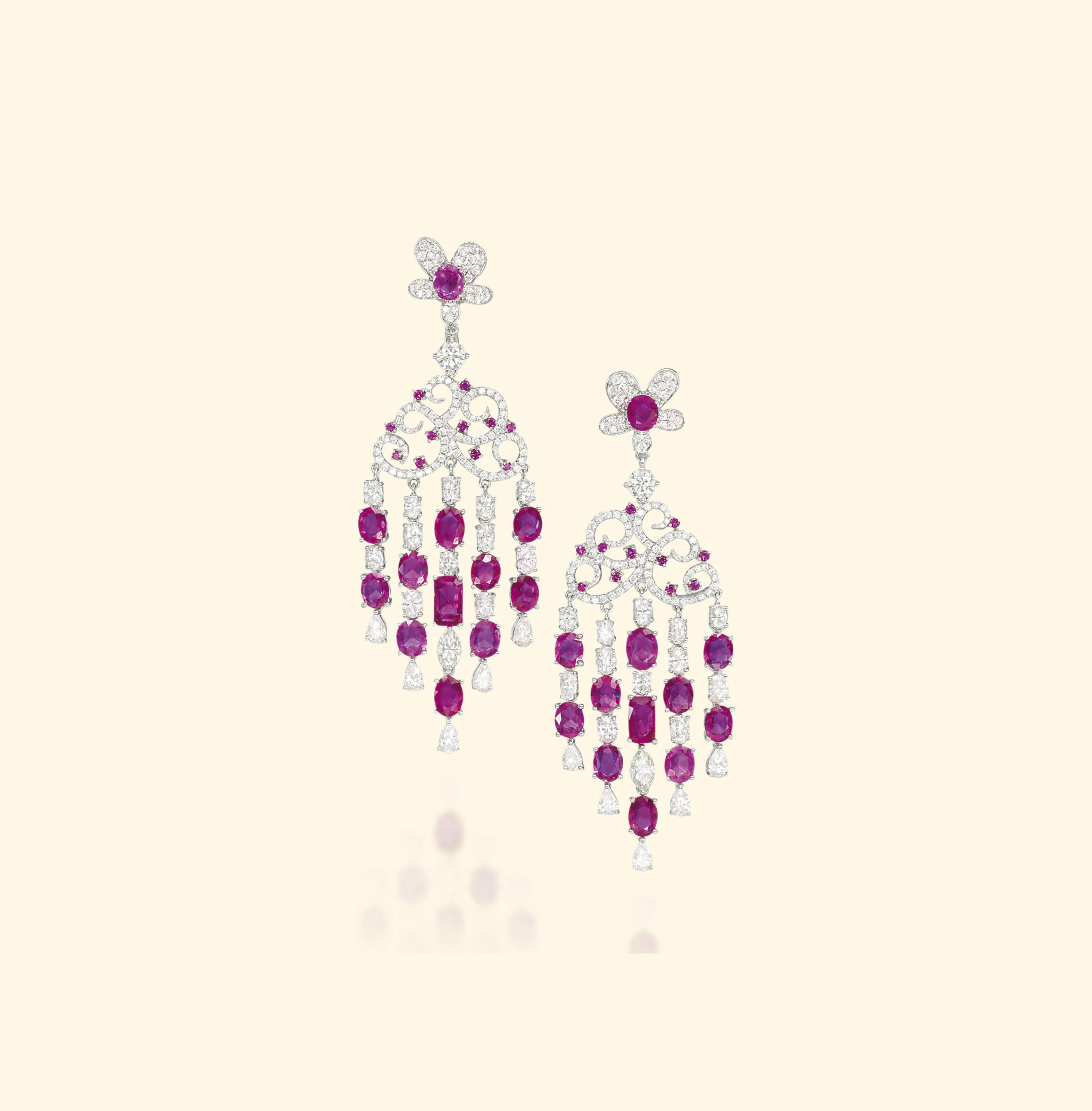 A PAIR OF RUBY AND DIAMOND EAR PENDANTS, BY MICHAEL YOUSSOUFIAN