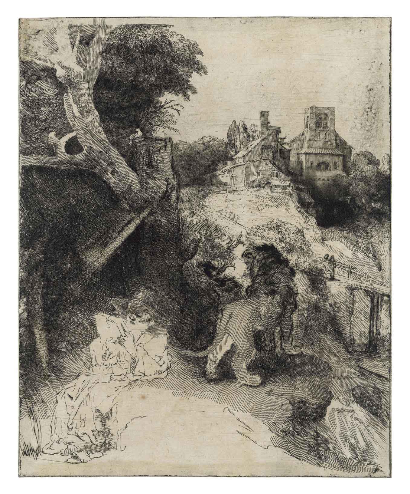 Saint Jerome reading in an Italianate Landscape (B., Holl. 104; H. 267)