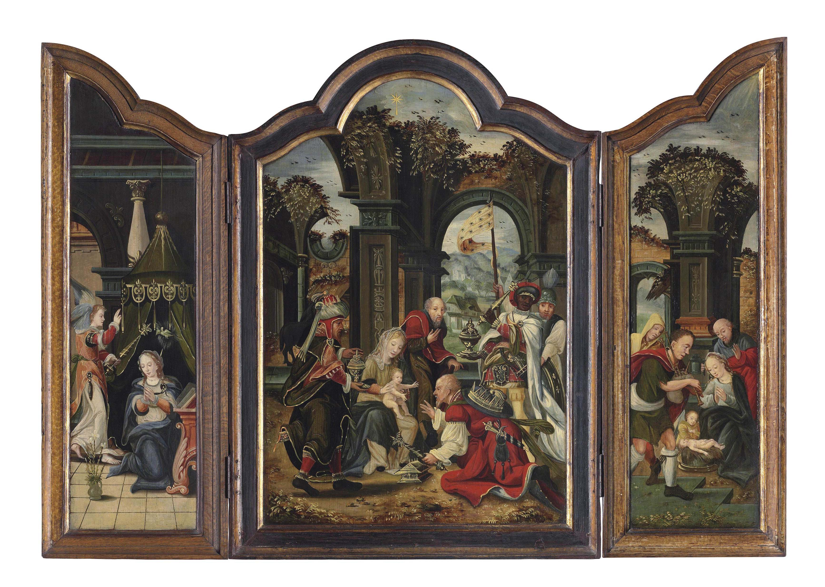 A triptych: central panel: The Adoration of the Magi; the wings: The Annunciation; and The Adoration of the Shepherds
