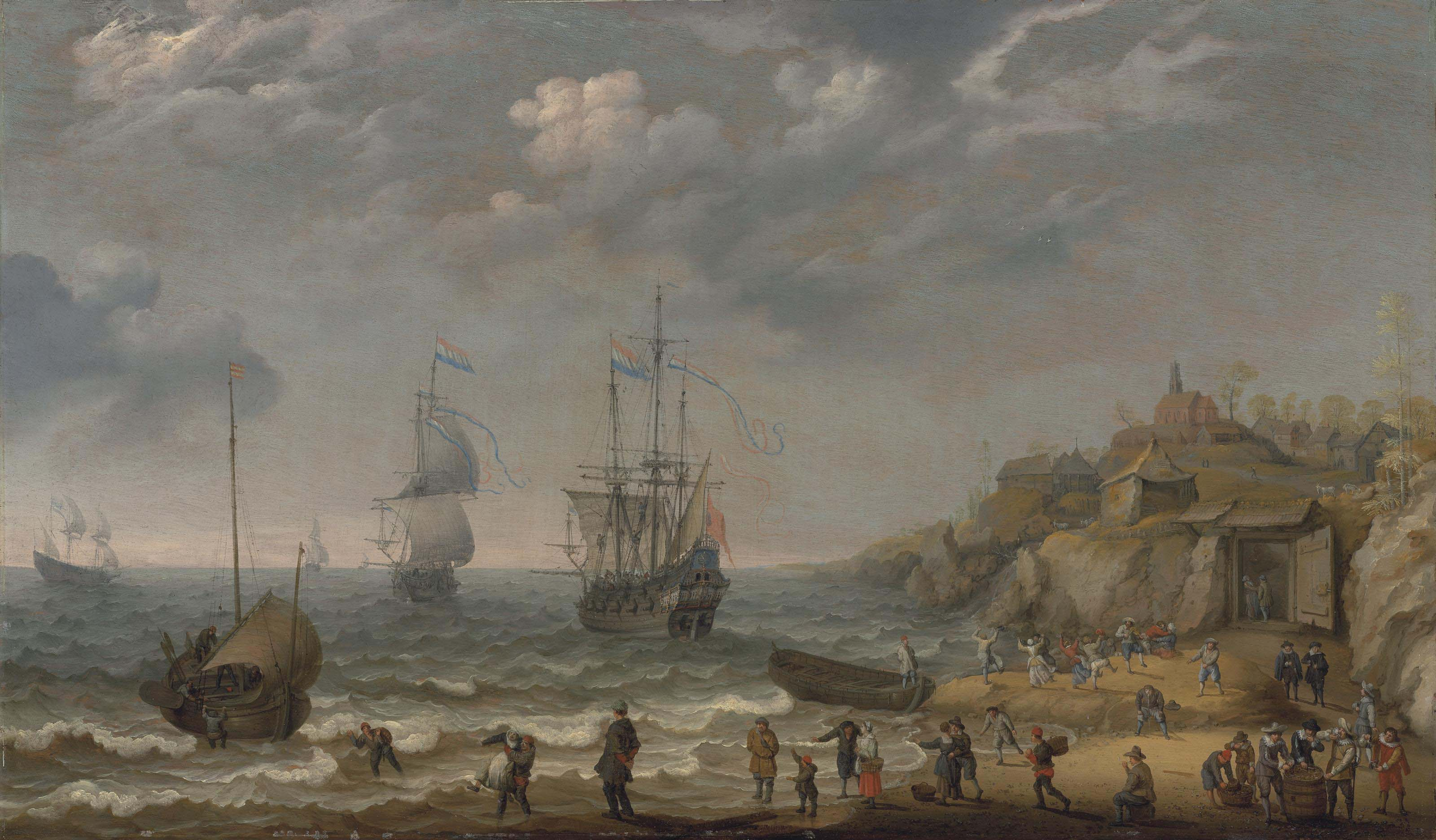 Dutch men-o'-war and other vessels by the coast with merrymakers and other figures