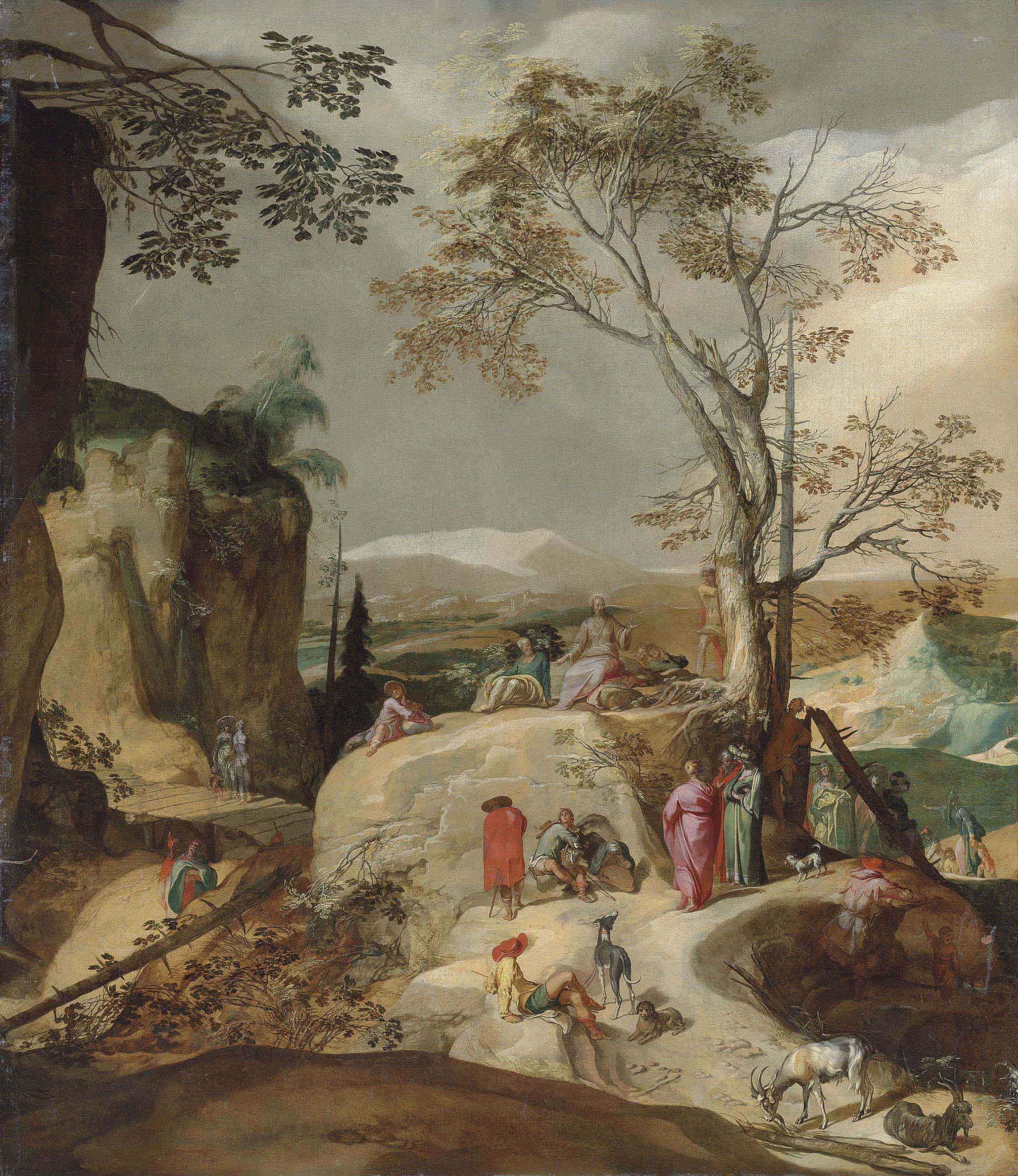 The Sermon on the Mount, a rocky landscape beyond
