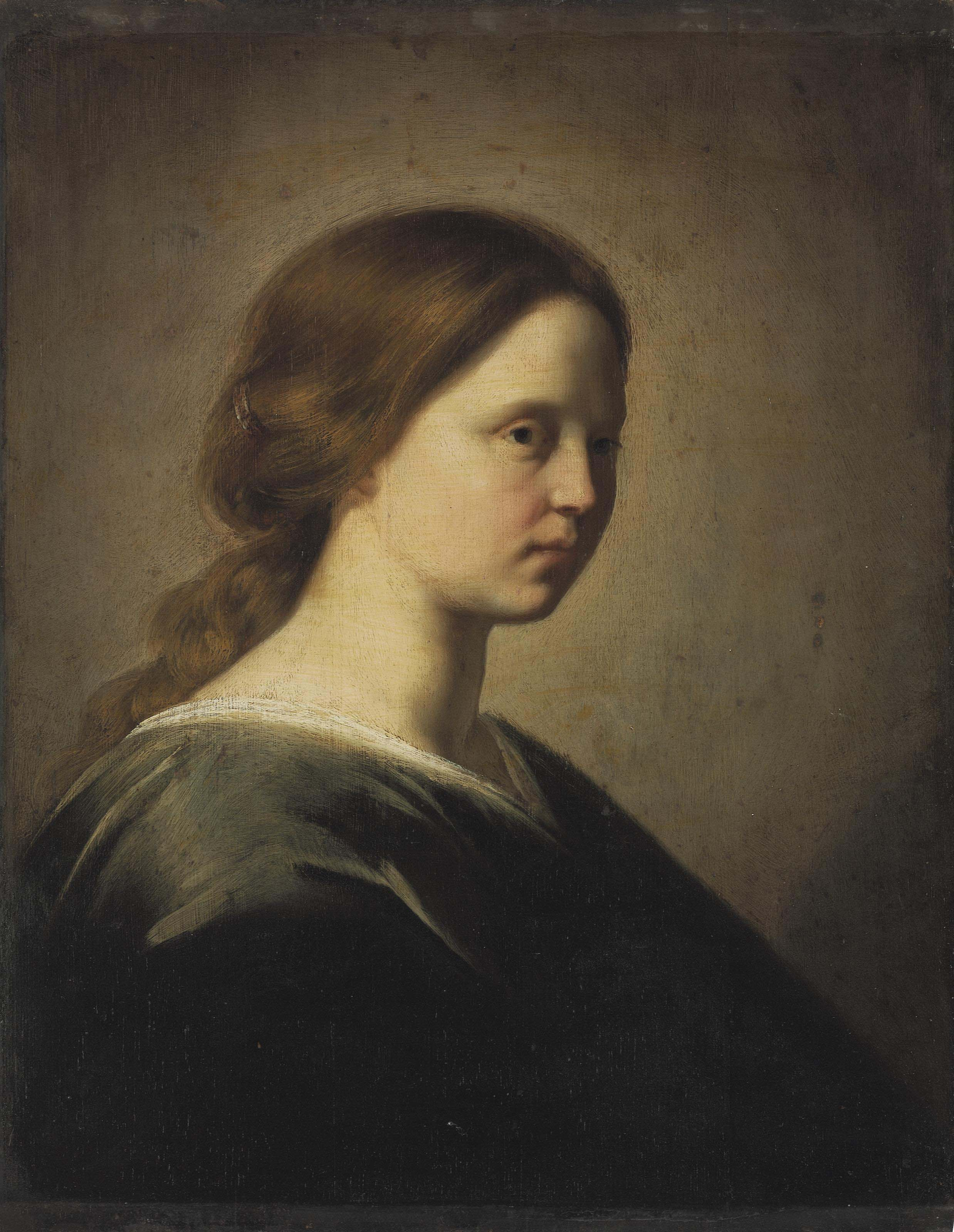 A lady, bust-length, in a blue gown