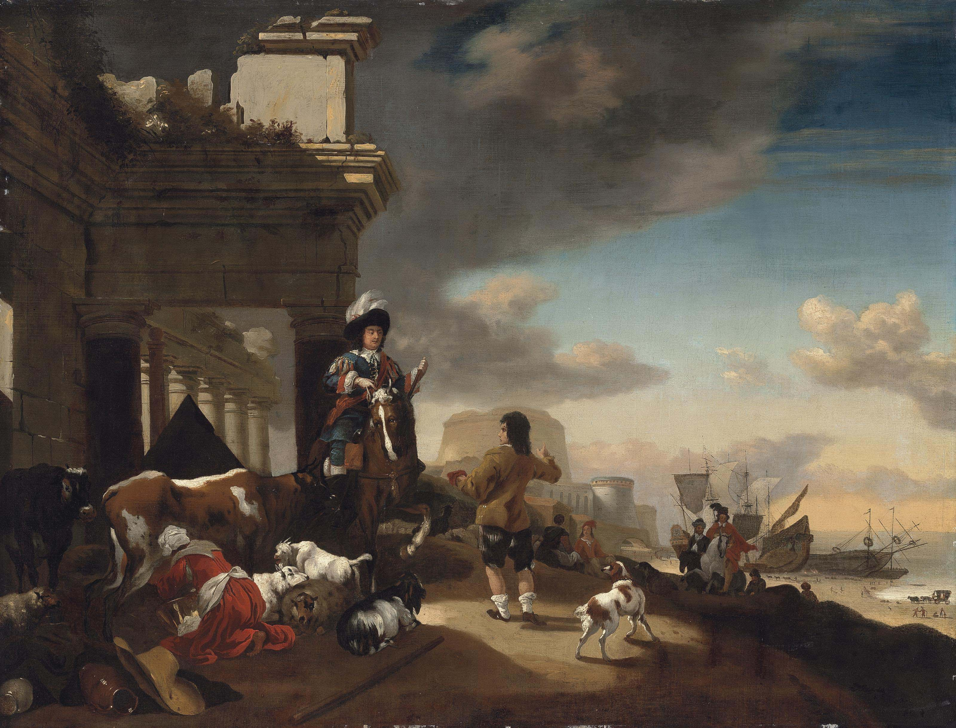 A coastal landscape with an elegant horseman, a milkmaid and other figures with cattle, goats, sheep and a dog, by classical ruins, a fortified castle beyond