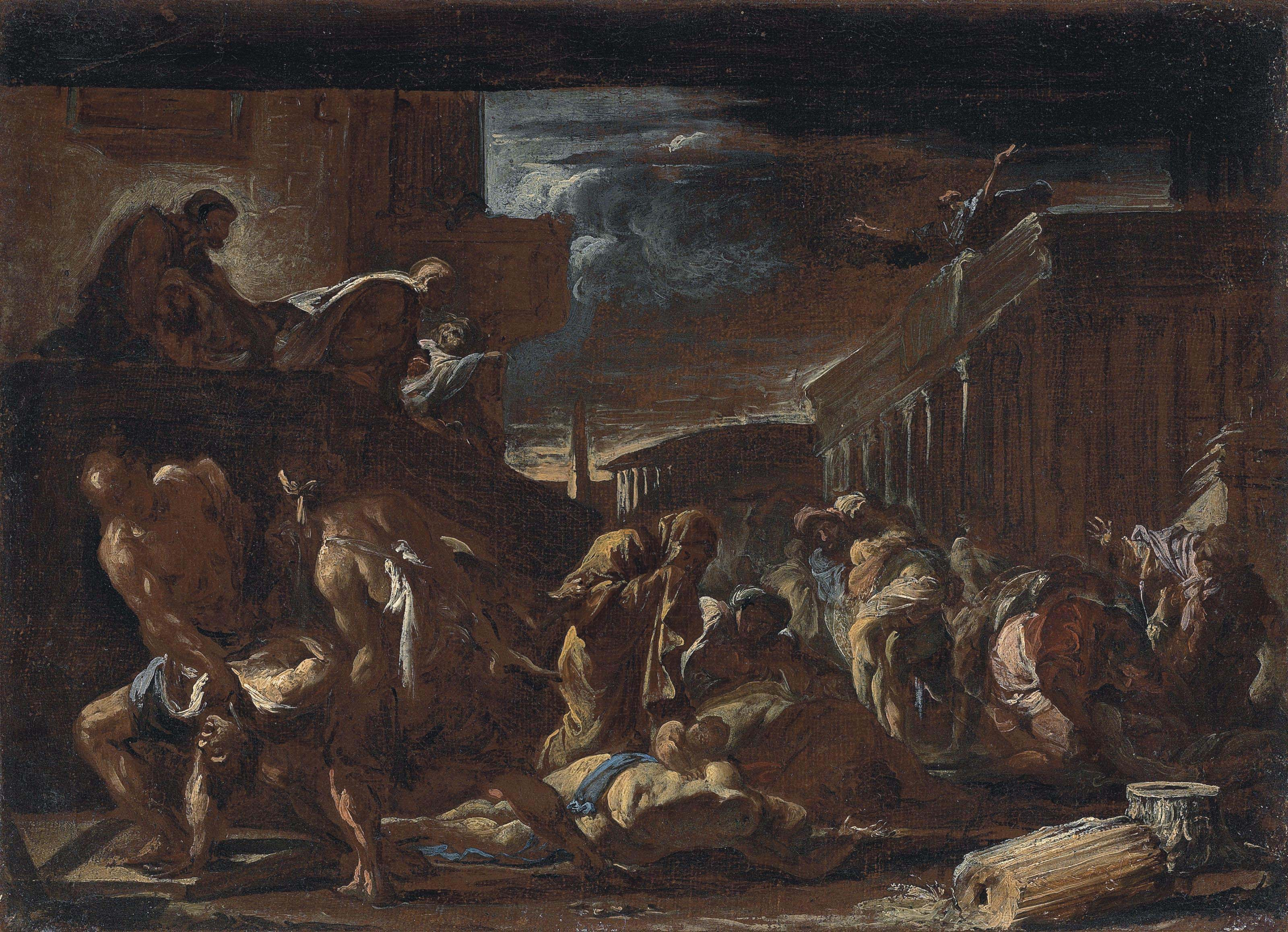 Victims of the 1656 Plague in Naples - a bozzetto