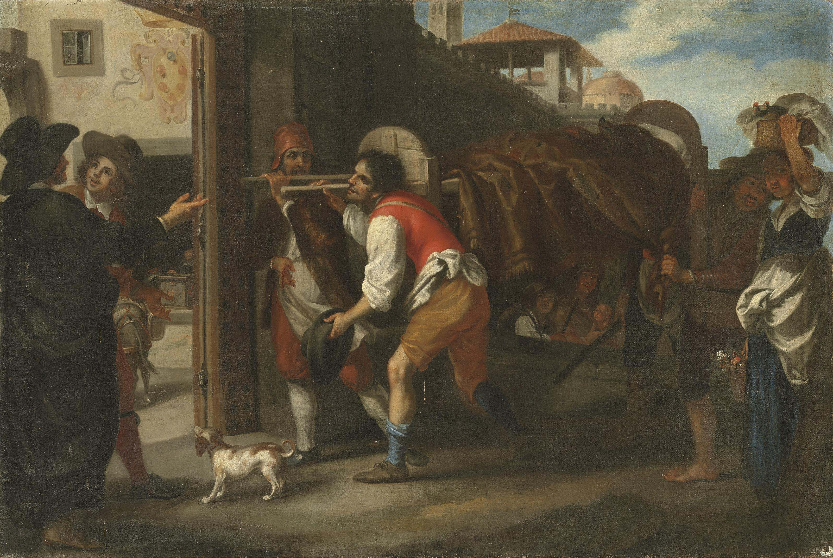 An episode from the stories of the Pievano Arlotto: The Pievano Arlotto smuggling a wild boar into the city of Florence