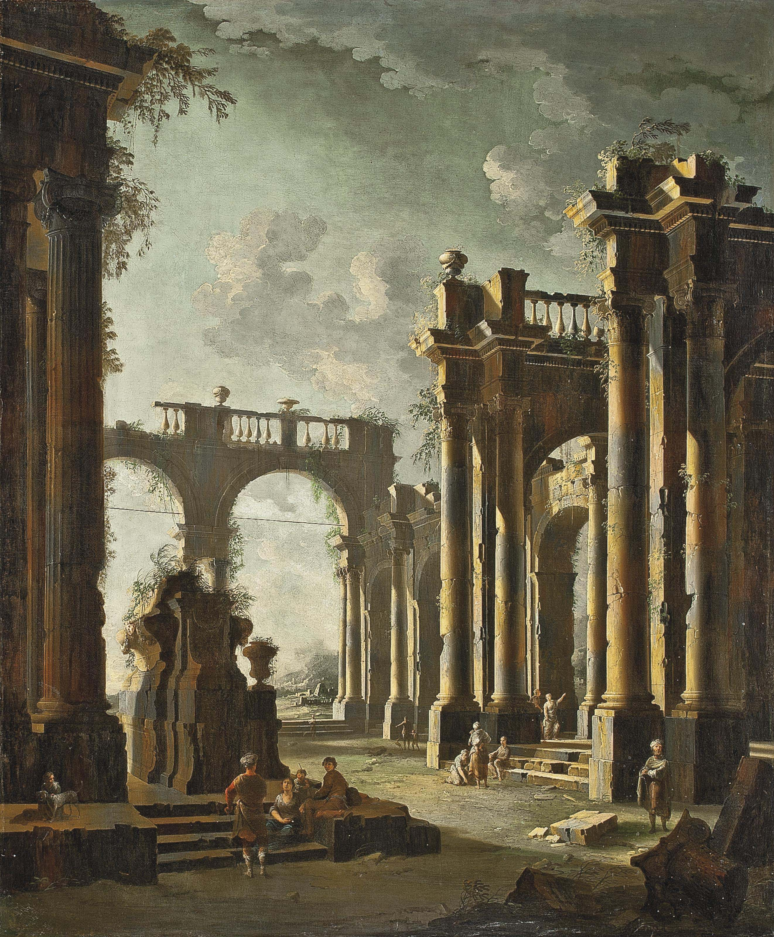 An architectural capriccio of classical ruins with figures conversing