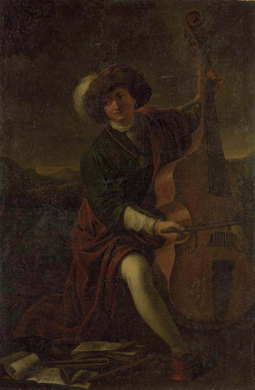A musician, full-length, in a green coat, a red cloak, white stockings and a plumed hat, playing a viola da gamba, in an extensive mountainous landscape