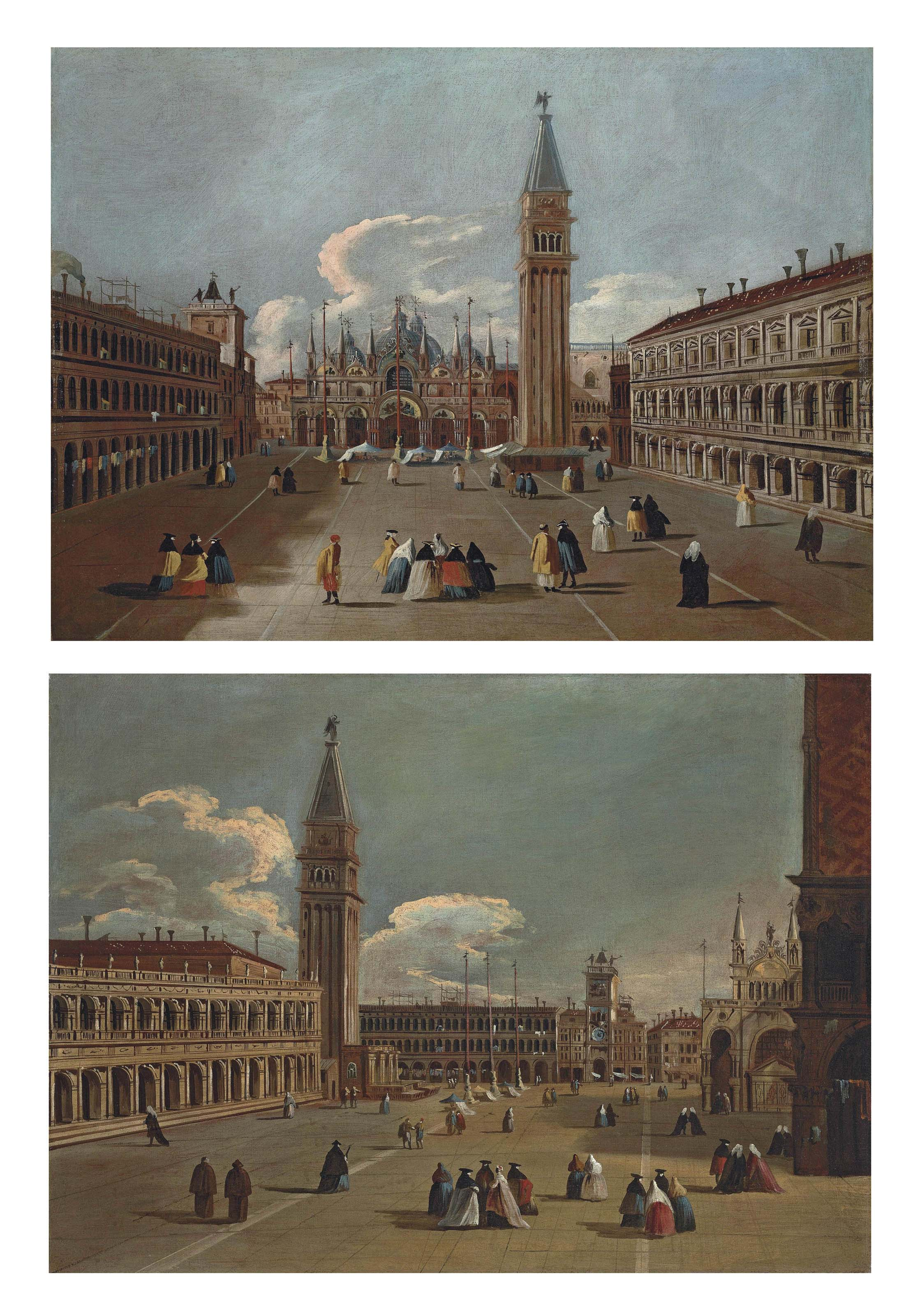 A view of Saint Mark's Square, Venice, looking east towards the Basilica and the Campanile; and A view of the Piazzetta, Venice, looking north towards the Torre dell'Orologio