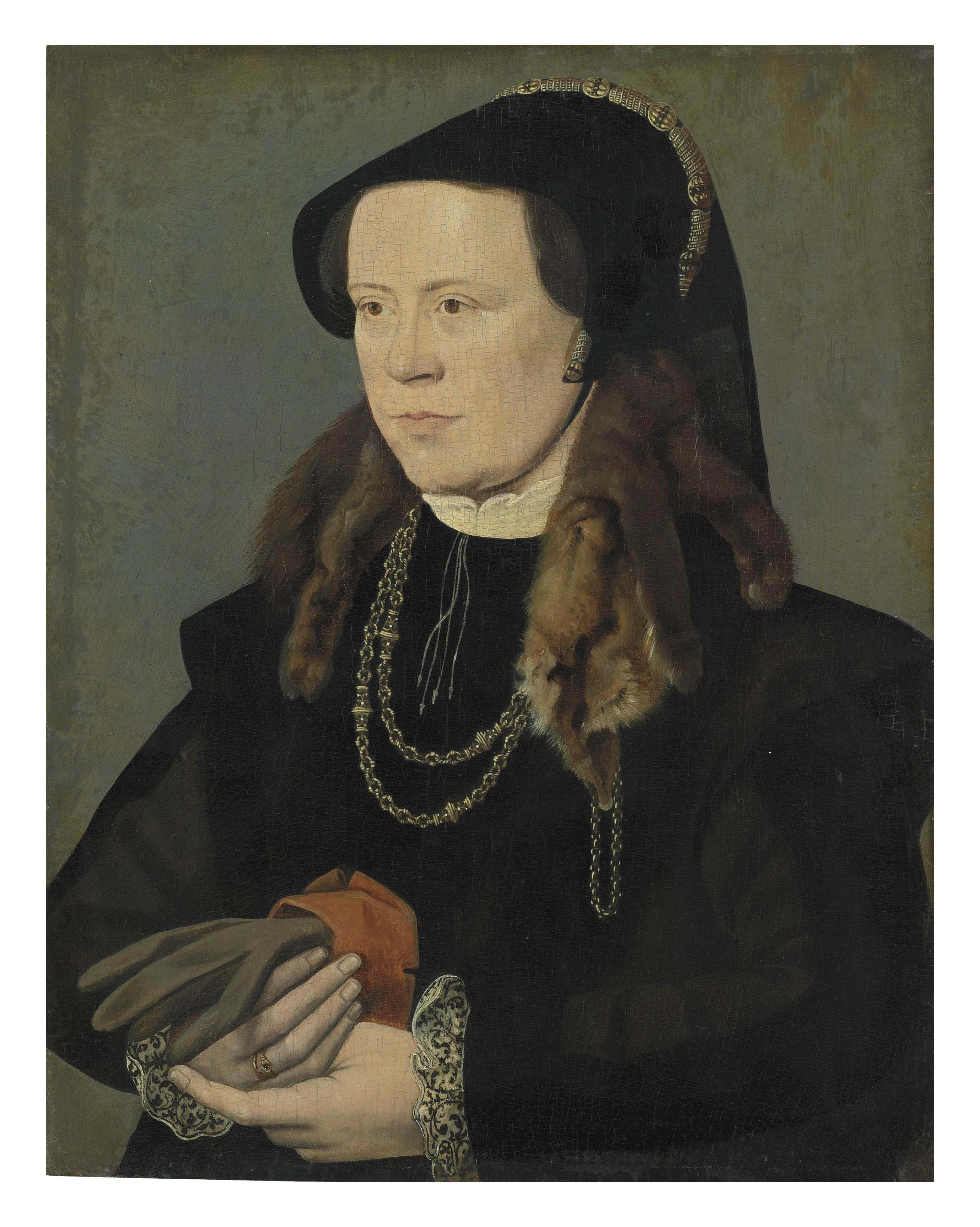 Portrait of a lady, half-length, in a black bodice with sleeves and black embroidered cuffs, and a black headdress, with an enameled chain and a fur tippet around her neck, holding a pair of gloves in her right hand