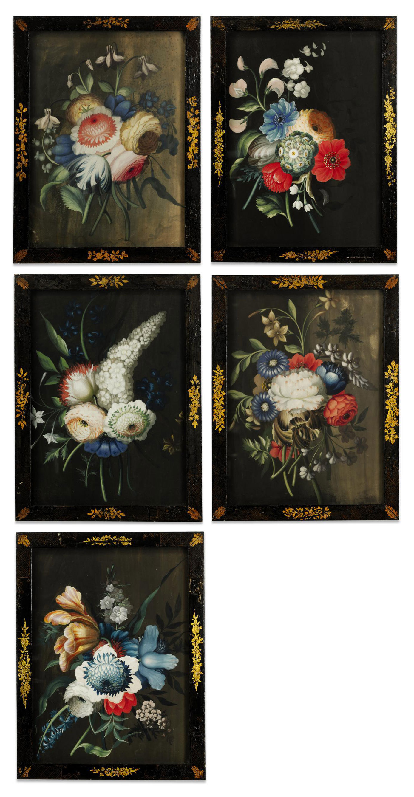 A SET OF FIVE IRISH GEORGE III GOUACHE DRAWINGS OF FLORAL BOUQUETS